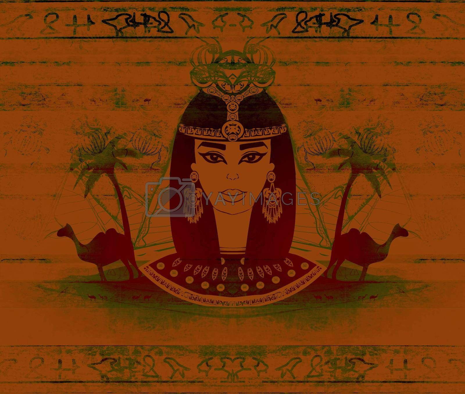 Royalty free image of old paper with Egyptian queen - artistic grunge background  by JackyBrown