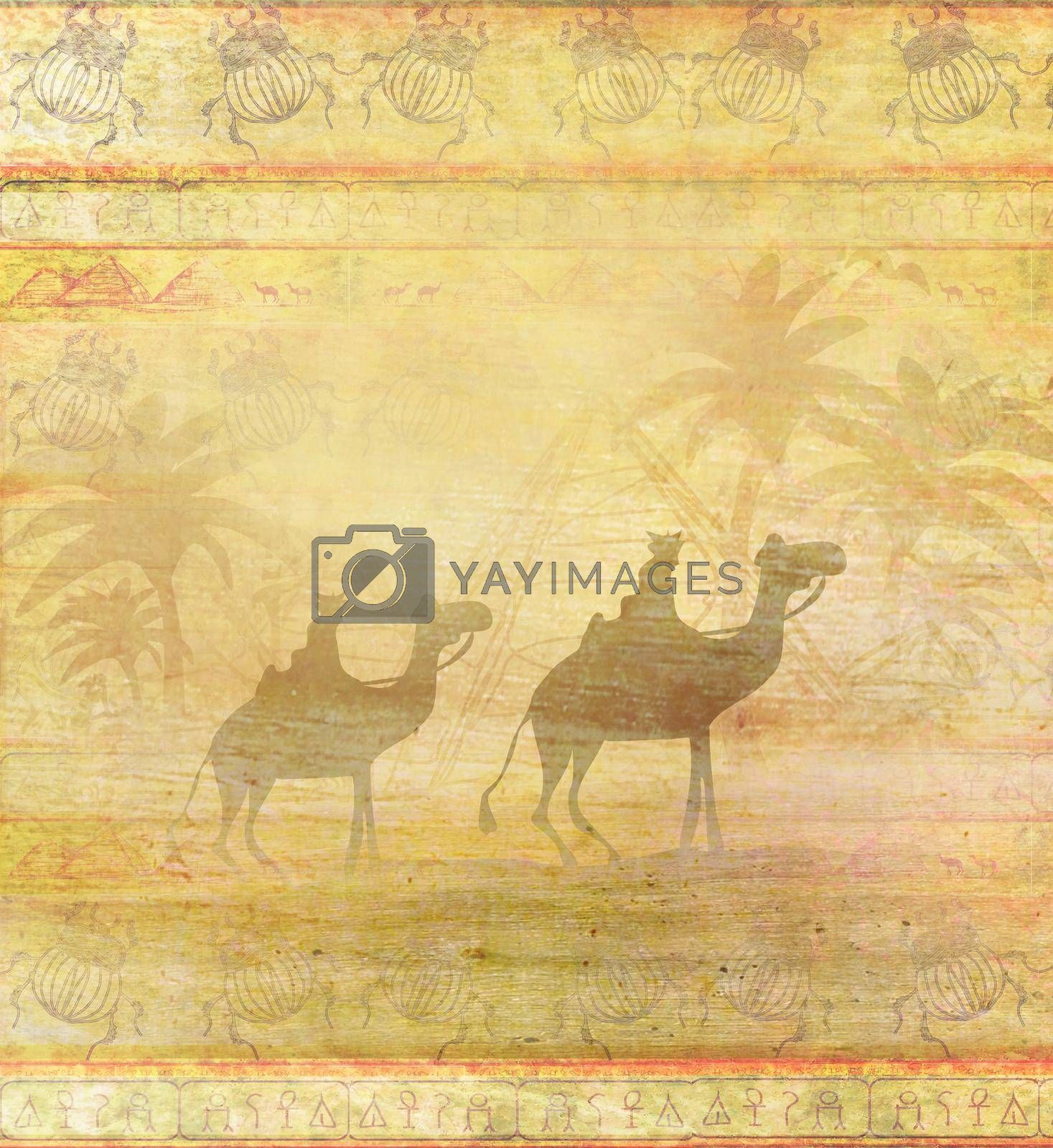 Royalty free image of Camel train silhouetted against sky crossing the Sahara Desert - abstract grunge card  by JackyBrown