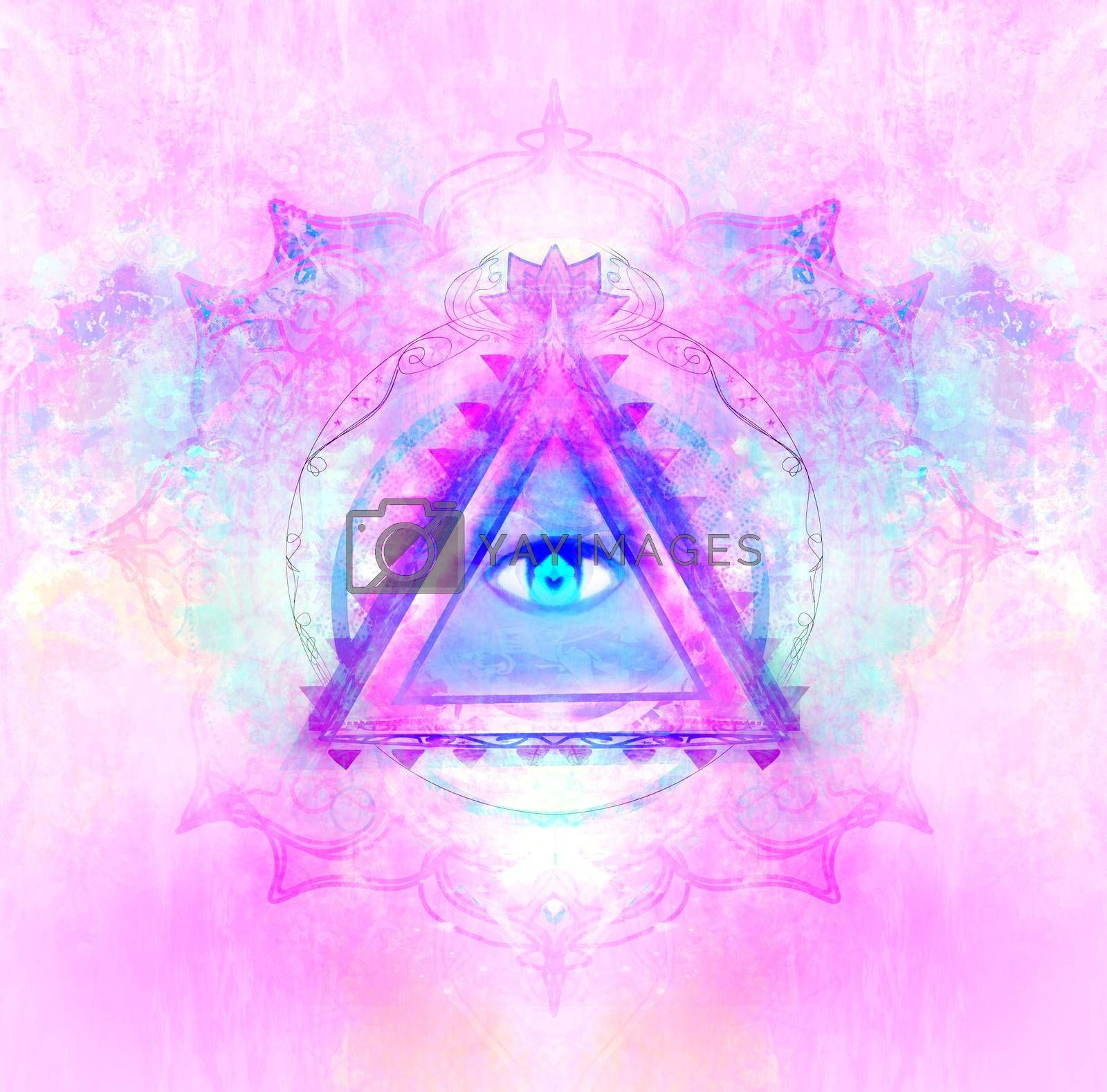 Royalty free image of All seeing eye inside triangle pyramid.  by JackyBrown