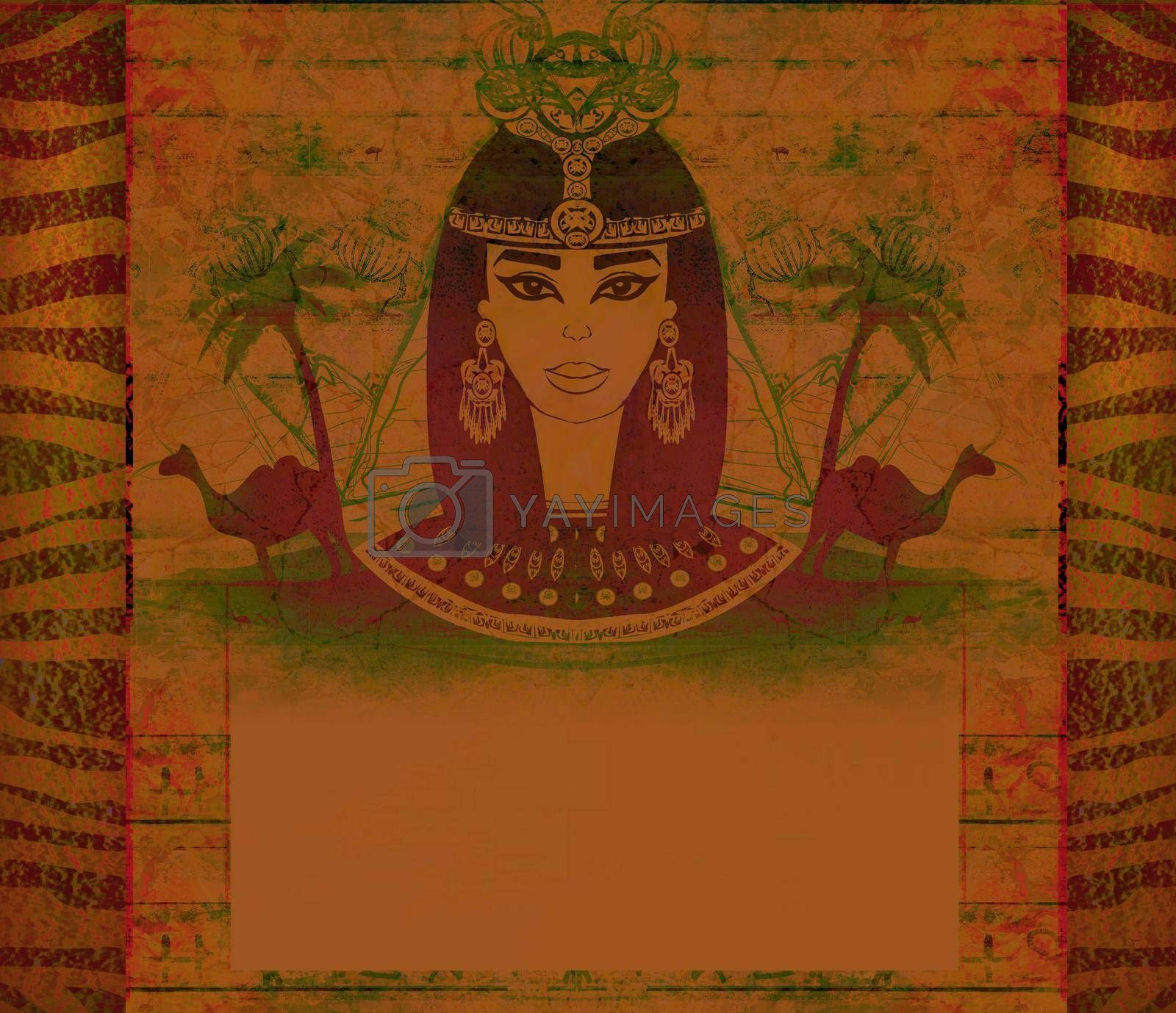 Royalty free image of old paper with Egyptian queen - artistic frame  by JackyBrown