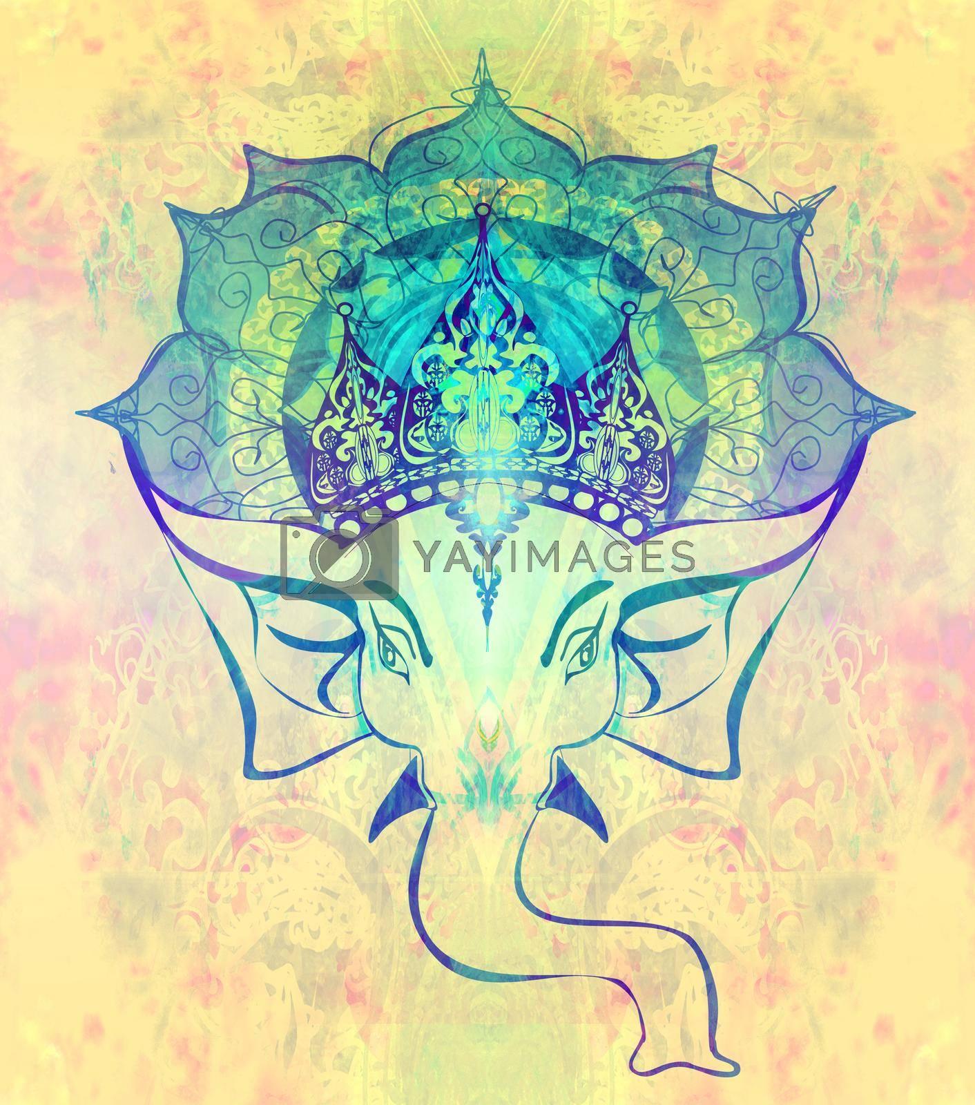 Royalty free image of Hindu Lord Ganesha over ornate mandala by JackyBrown