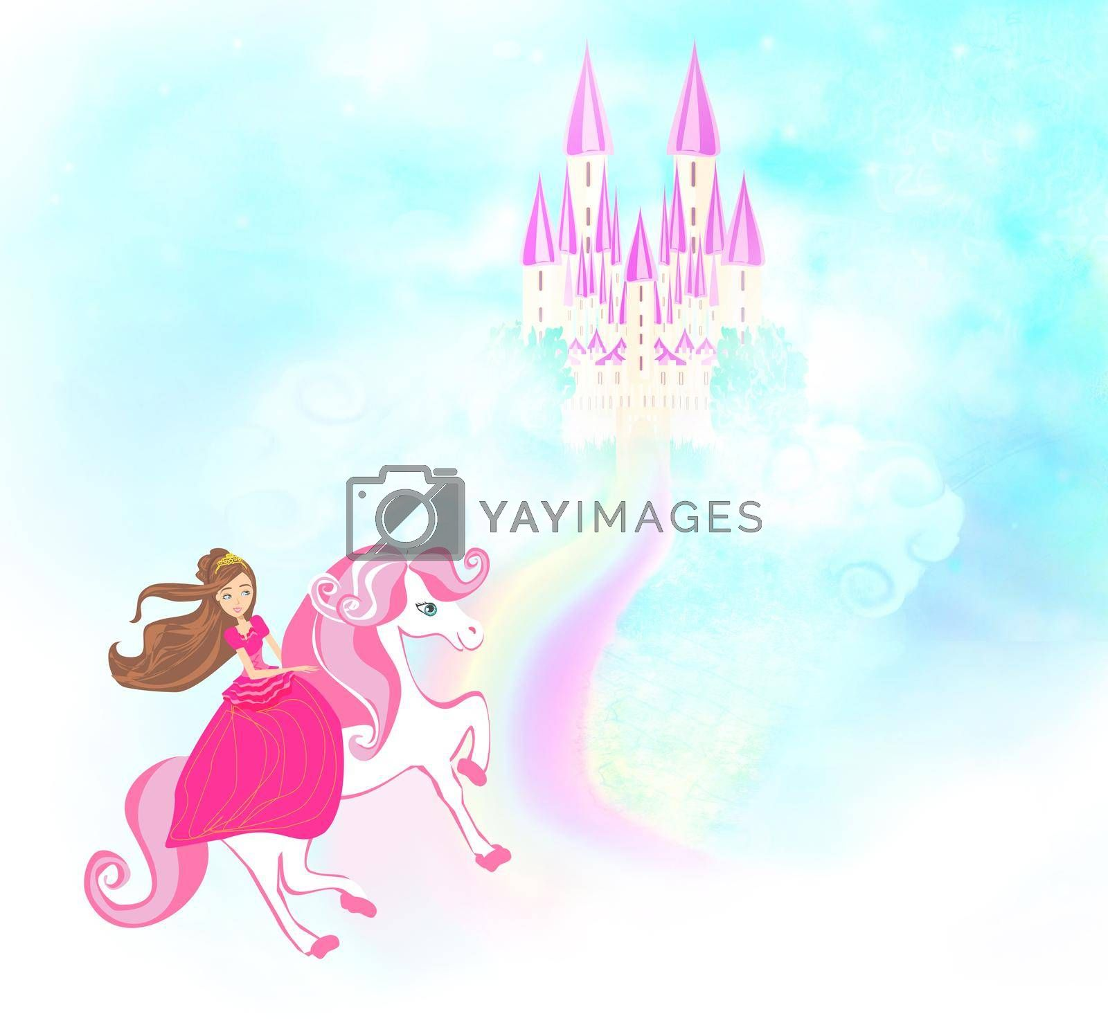 Royalty free image of Lovely princess on a unicorn flying on a rainbow by JackyBrown