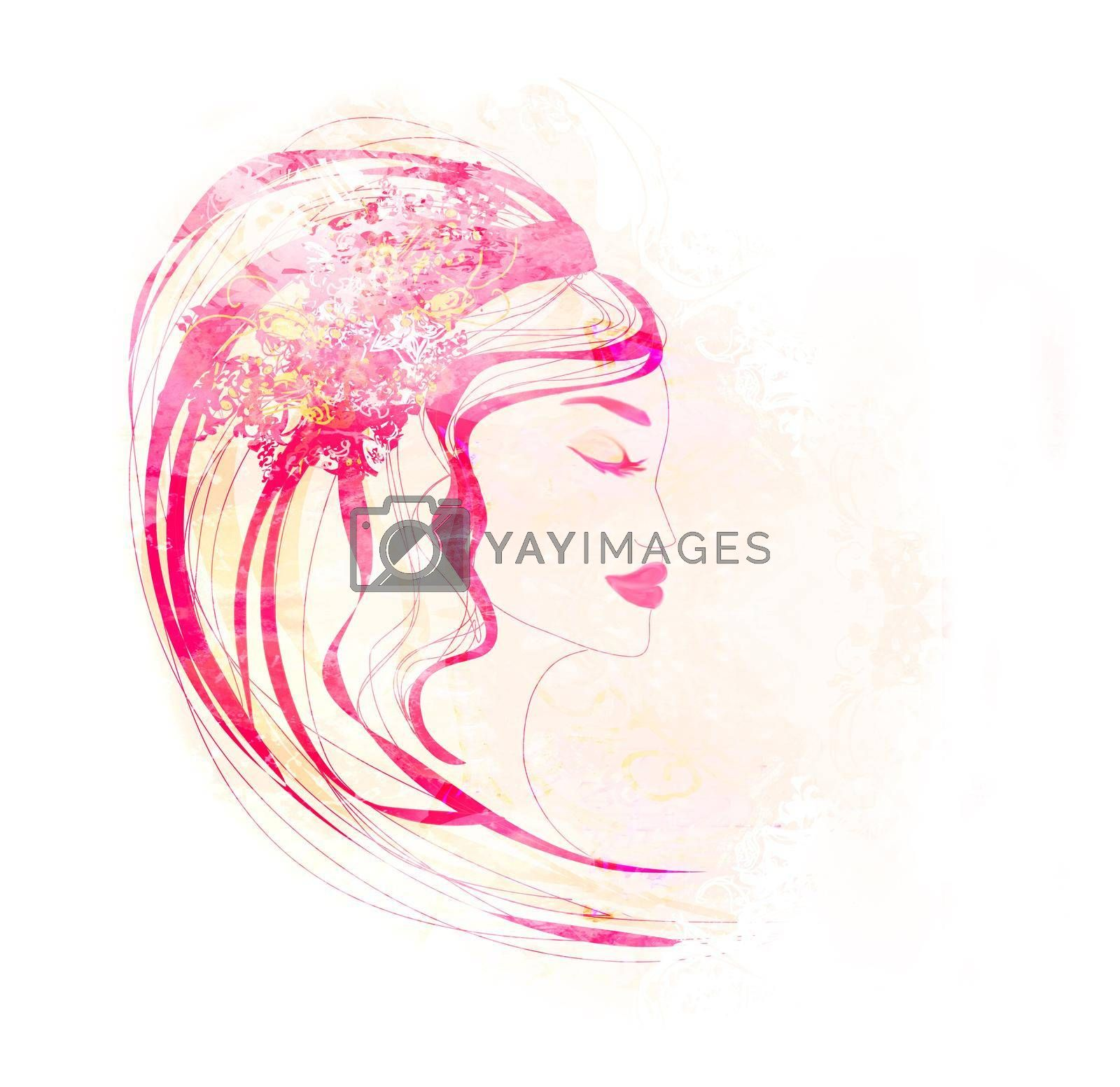 Royalty free image of Decorative Abstract Lady Face Poster  by JackyBrown