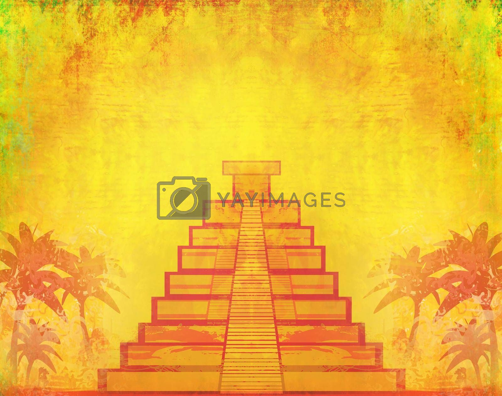 Royalty free image of Mayan Pyramid, Chichen-Itza, Mexico - grunge abstract background by JackyBrown