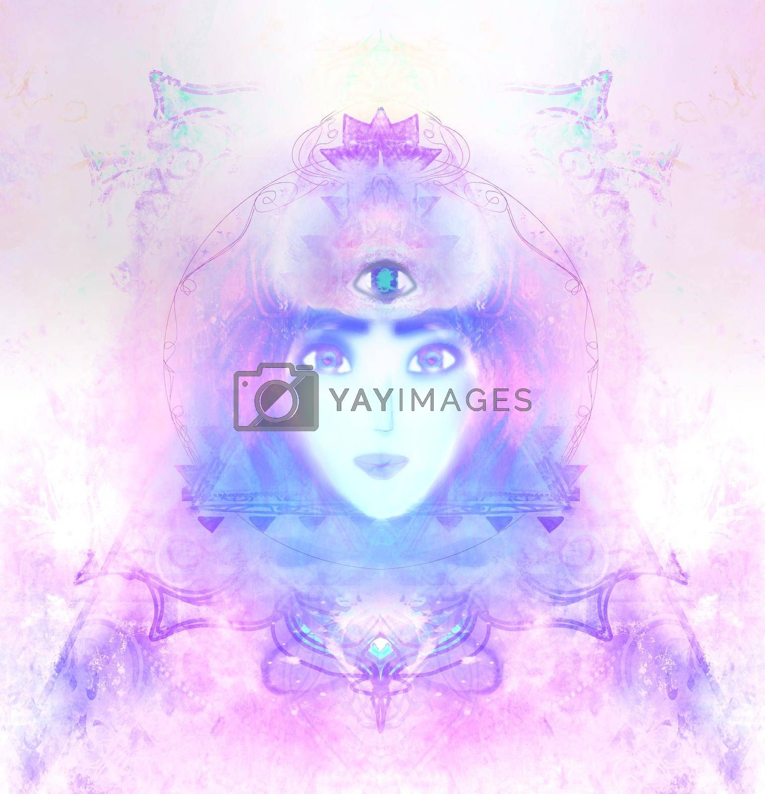Royalty free image of Woman with third eye, psychic supernatural senses by JackyBrown