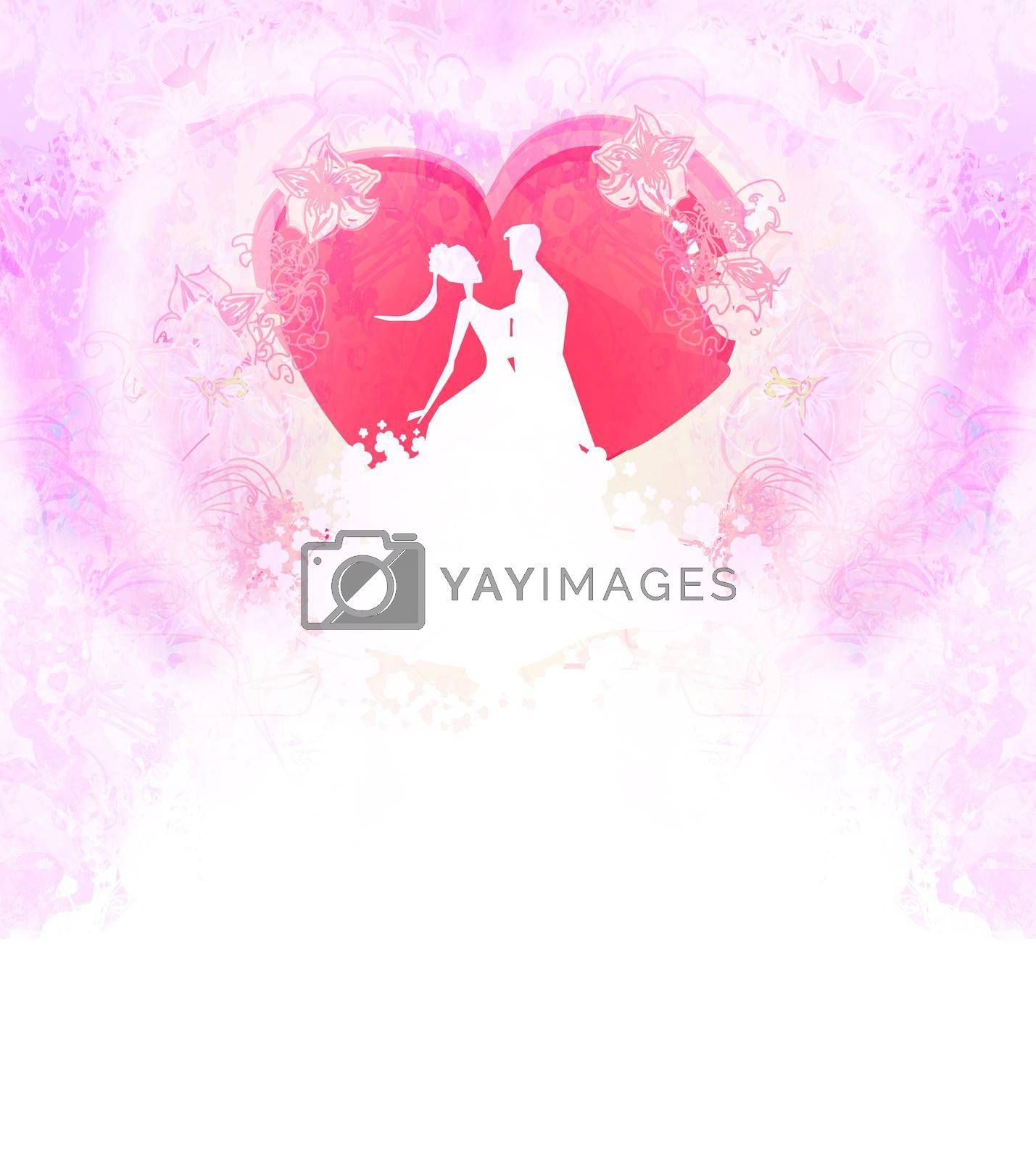 Royalty free image of Floral greeting card with silhouette of romantic couple  by JackyBrown