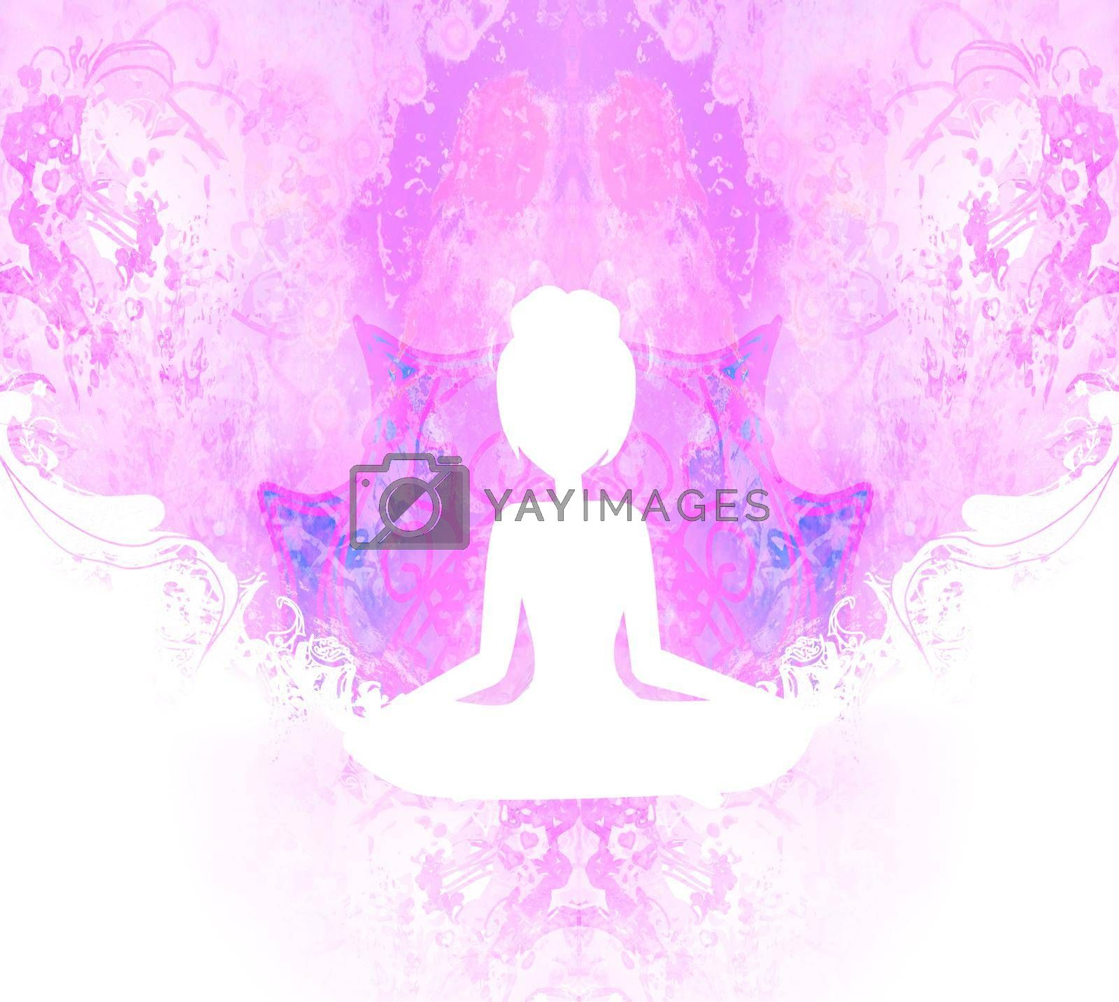 Royalty free image of Yoga and Spirituality, abstract ornamental card by JackyBrown