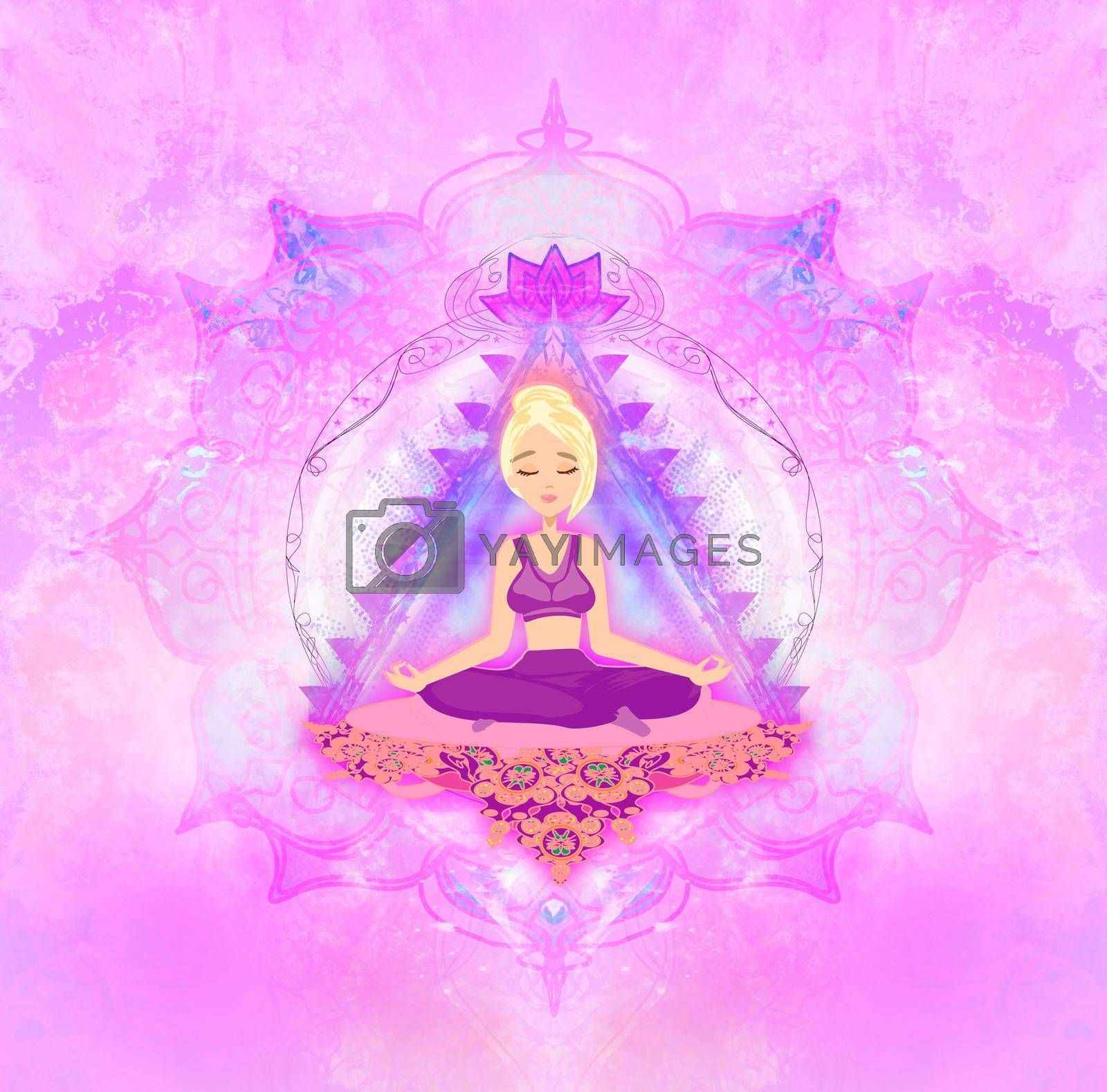 Royalty free image of Girl in lotus yoga pose - artistic card  by JackyBrown