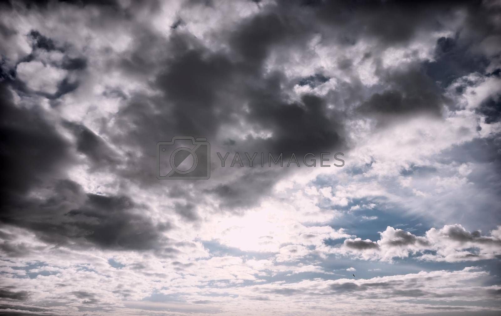 Background image of the sky with dark storm clouds