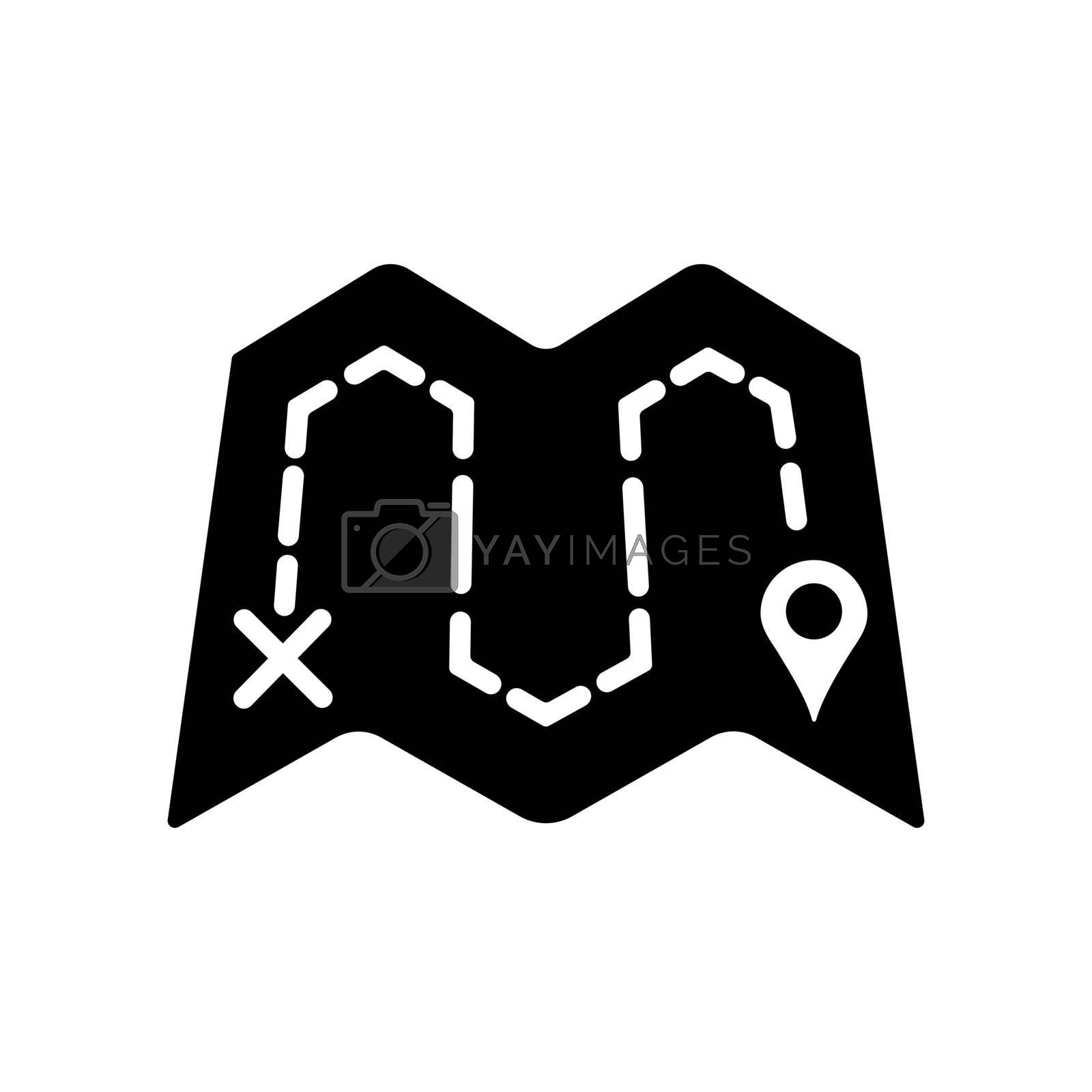 Map with route vector glyph icon. Navigation sign. Graph symbol for travel and tourism web site and apps design, logo, app, UI
