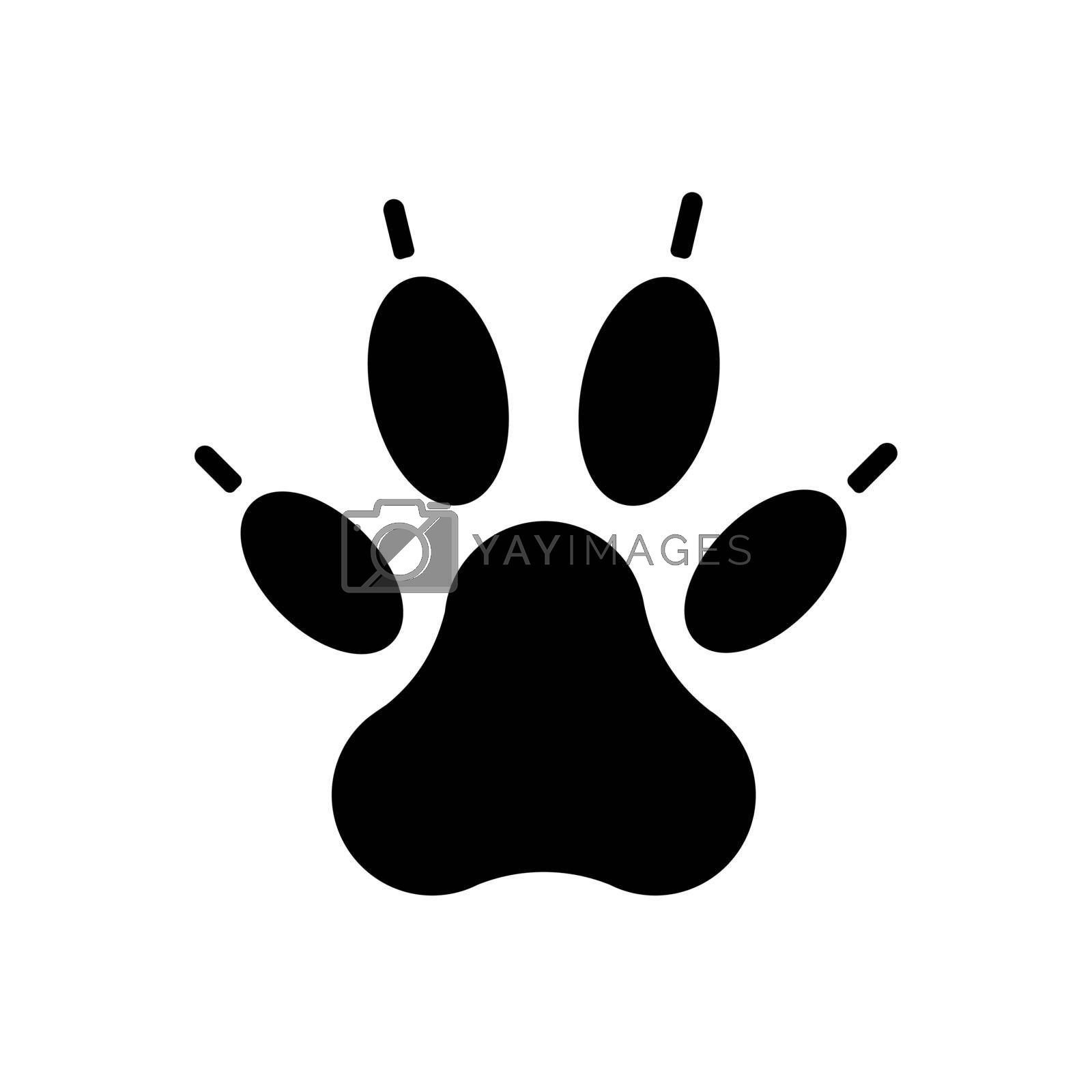 Predatory paw vector glyph icon. Pet animal sign. Graph symbol for pet and veterinary web site and apps design, logo, app, UI
