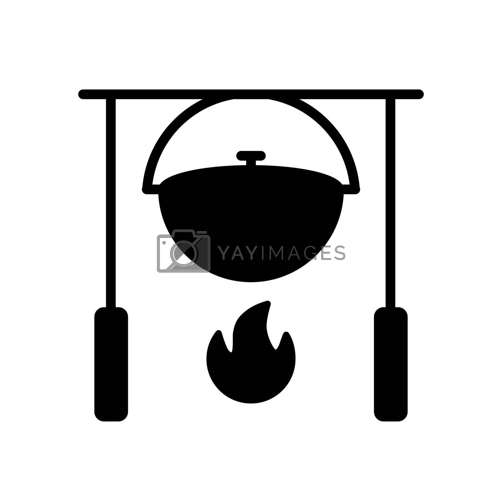 Camping pot over a bonfire vector glyph icon. Hiking sign. Graph symbol for travel and tourism web site and apps design, logo, app, UI