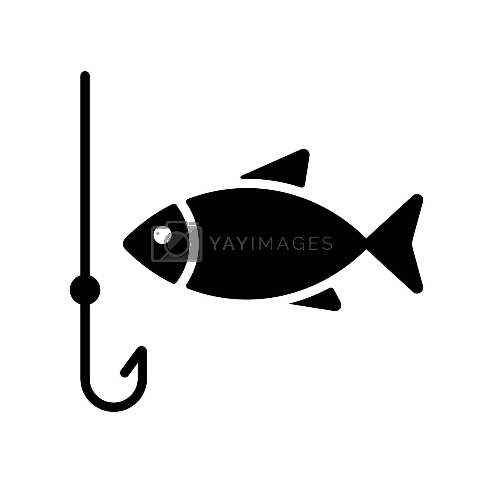 Fishing hook with fish vector glyph icon. Camping and Hiking sign. Graph symbol for travel and tourism web site and apps design, logo, app, UI