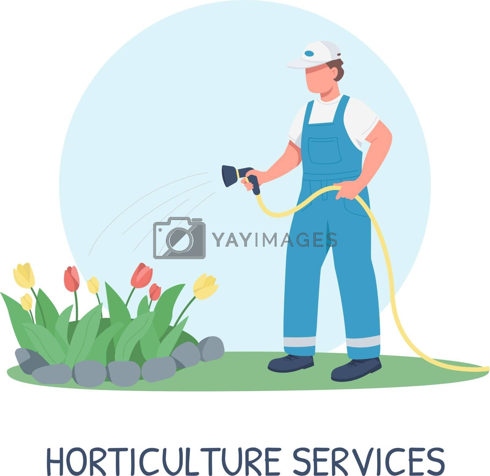 Gardening social media post mockup. Horticulture services phrase. Web banner design template. Professional landscaping booster, content layout with inscription. Poster, print ads and flat illustration