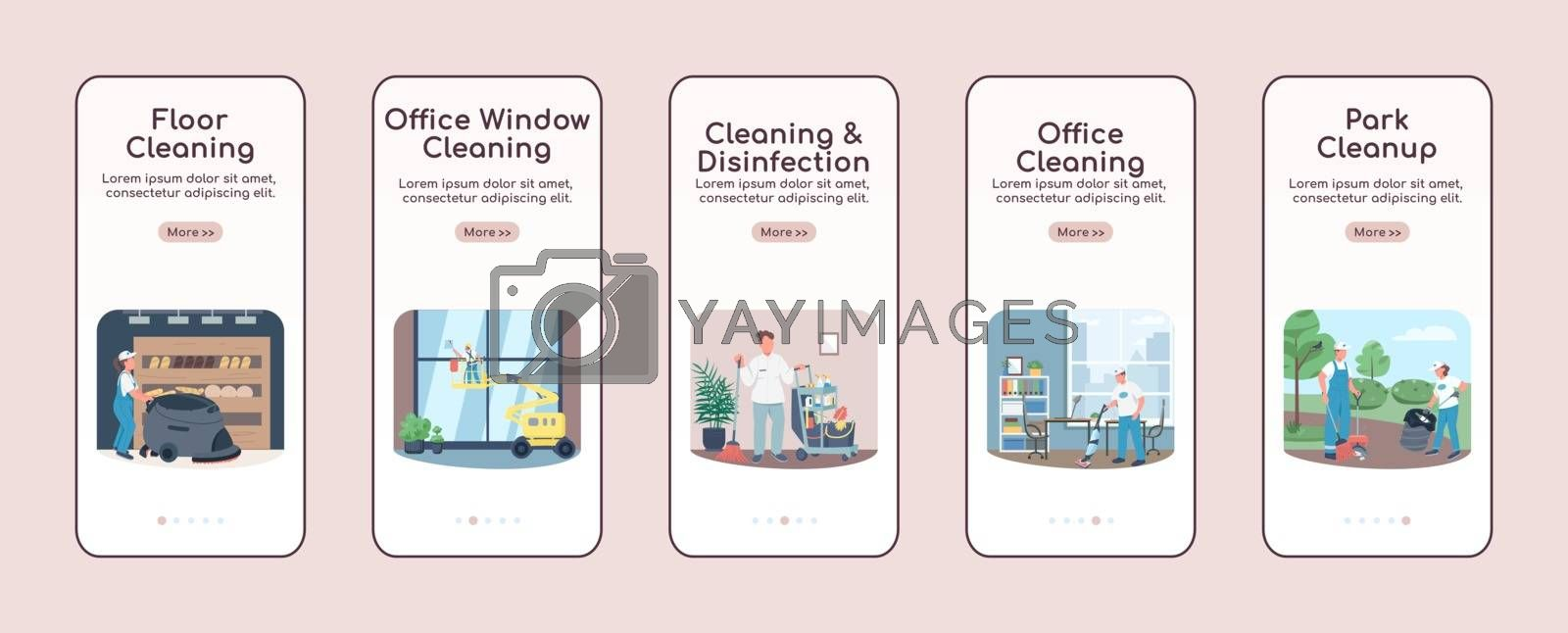 Cleaning business onboarding mobile app screen flat vector template. Janitorial services walkthrough website steps with characters. UX, UI, GUI smartphone cartoon interface, case prints set
