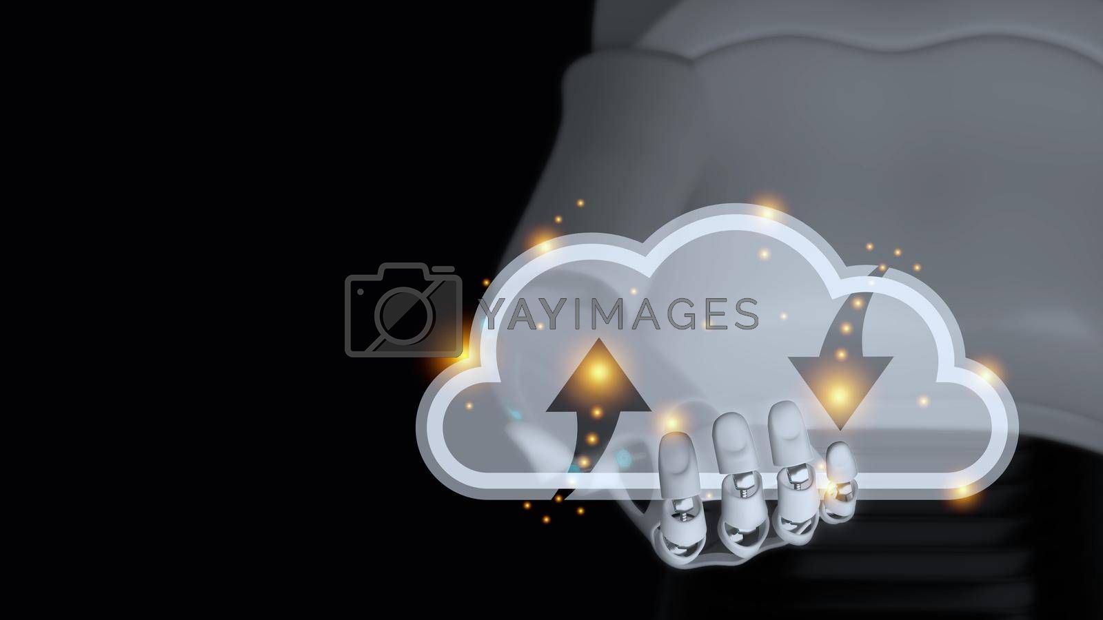 Royalty free image of Hand of cyborg is holding transparent glass cloud 3d render by eaglesky