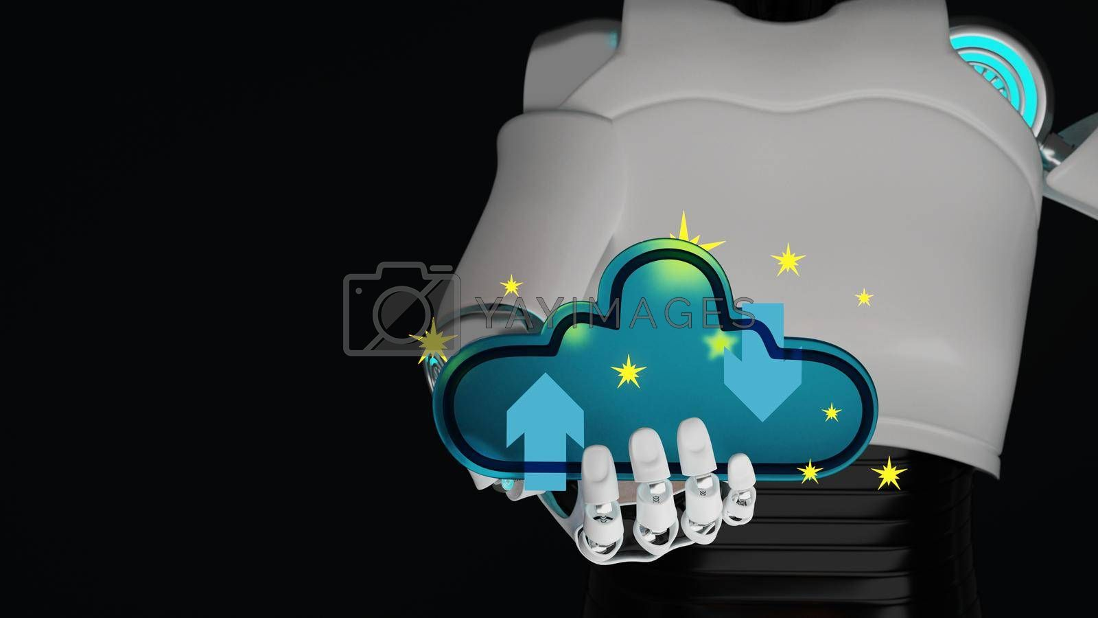 Royalty free image of Blue glass cloud on hand of cyborg with yellow star by eaglesky