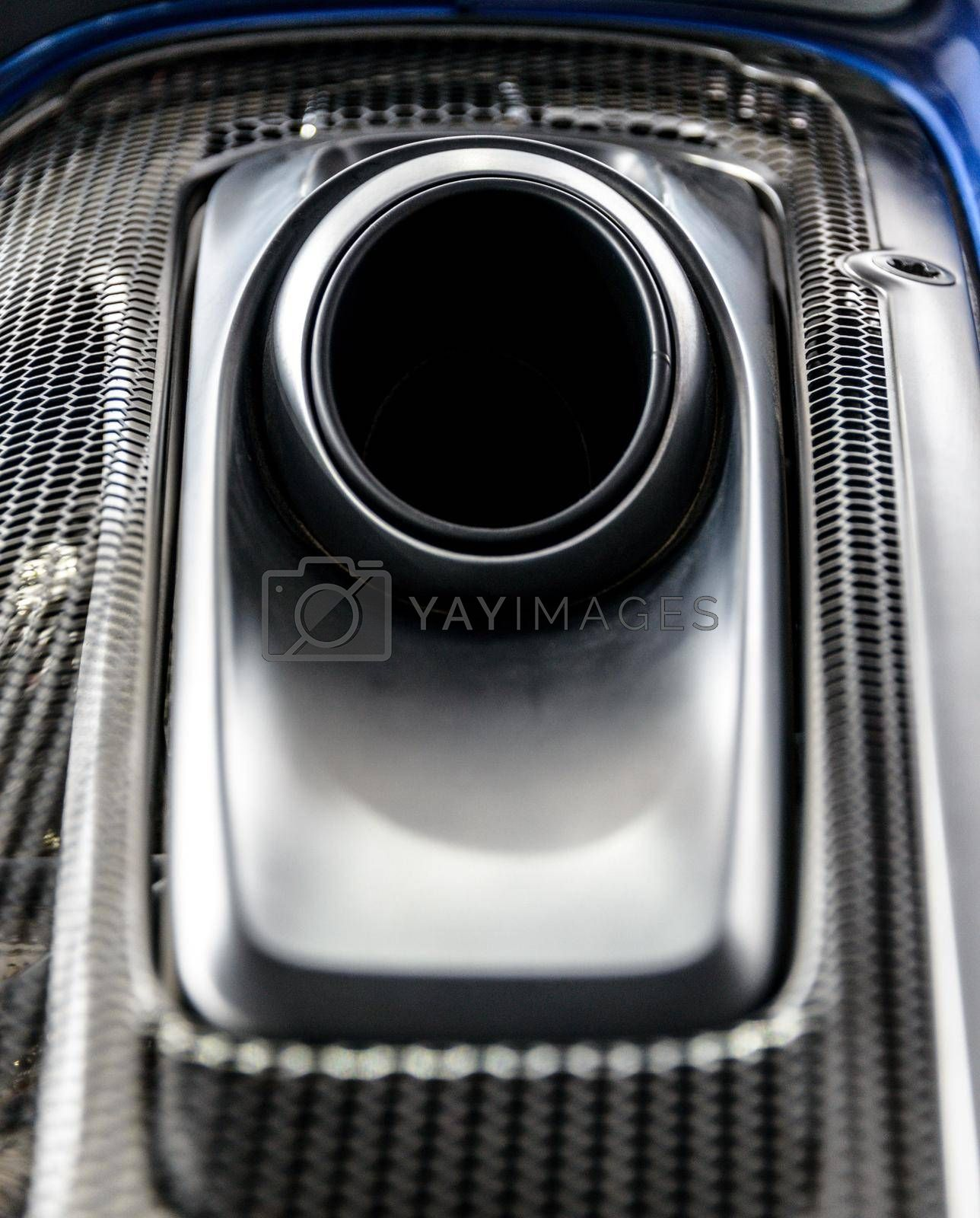 LONDON, UK - CIRCA JUNE 2014: Porsche 918 Spyder top mounted exhaust system detail shot.