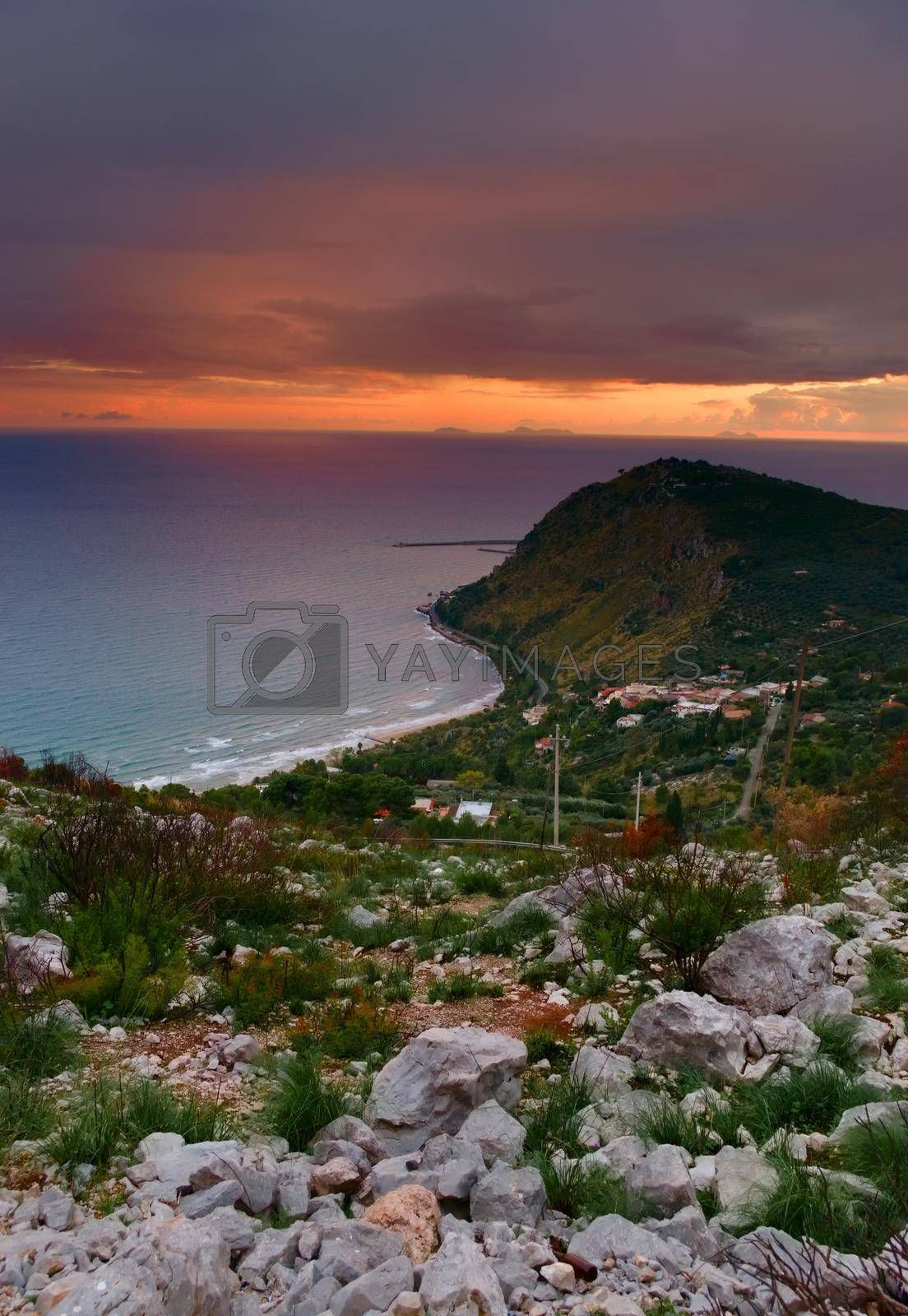 Royalty free image of Elevated view of the coast near Terracina, Italy, at sunset. by hernan_hyper