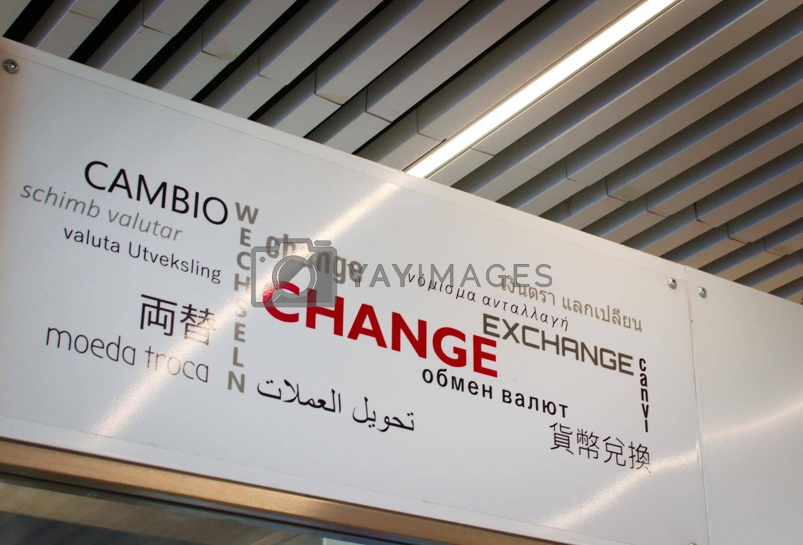 Royalty free image of Currency exchange sign at an airport. by hernan_hyper