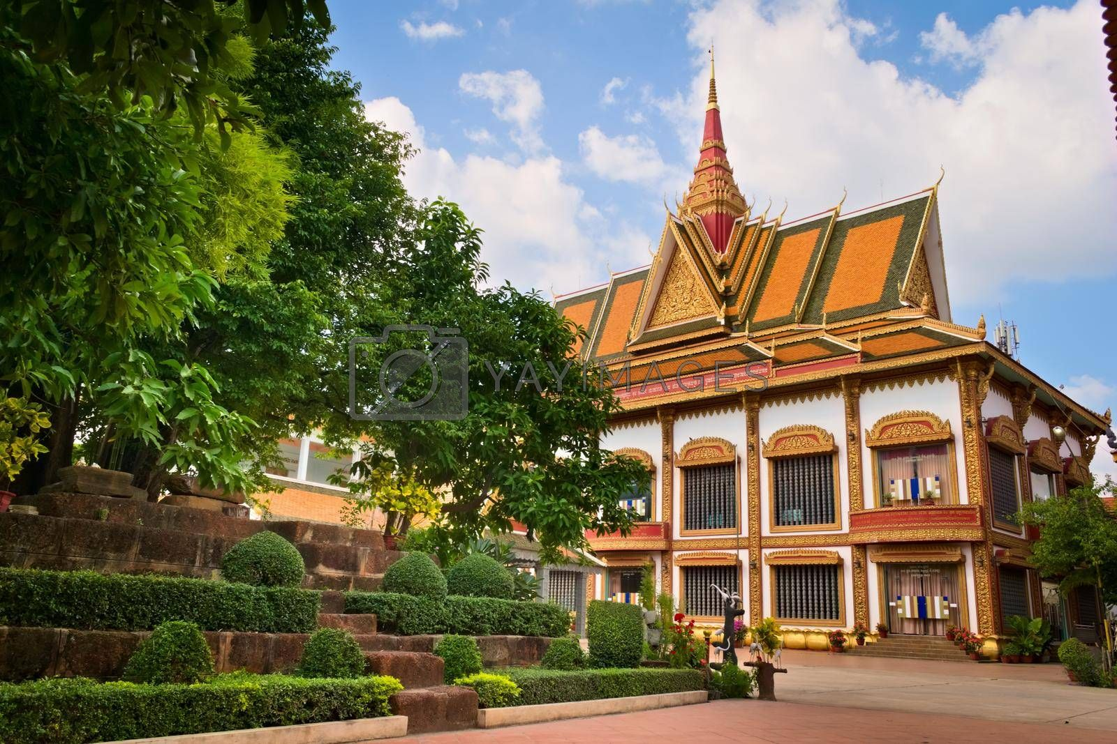 Royalty free image of 2019-11-16 / Siem Reap, Cambodia - Exterior view of a temple in Wat Preah Prom Rath, a buddhist complex built in the 13th century. by hernan_hyper
