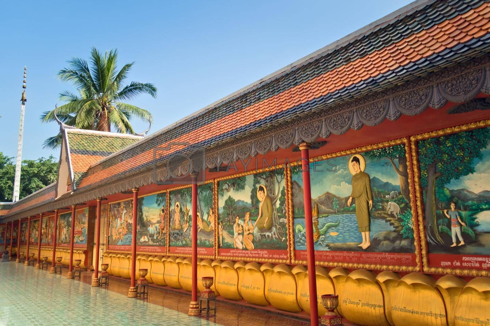 Royalty free image of 2019-11-16 / Siem Reap, Cambodia - Colorful mural in Wat Preah Prom Rath, a buddhist complex built in the 13th century. by hernan_hyper