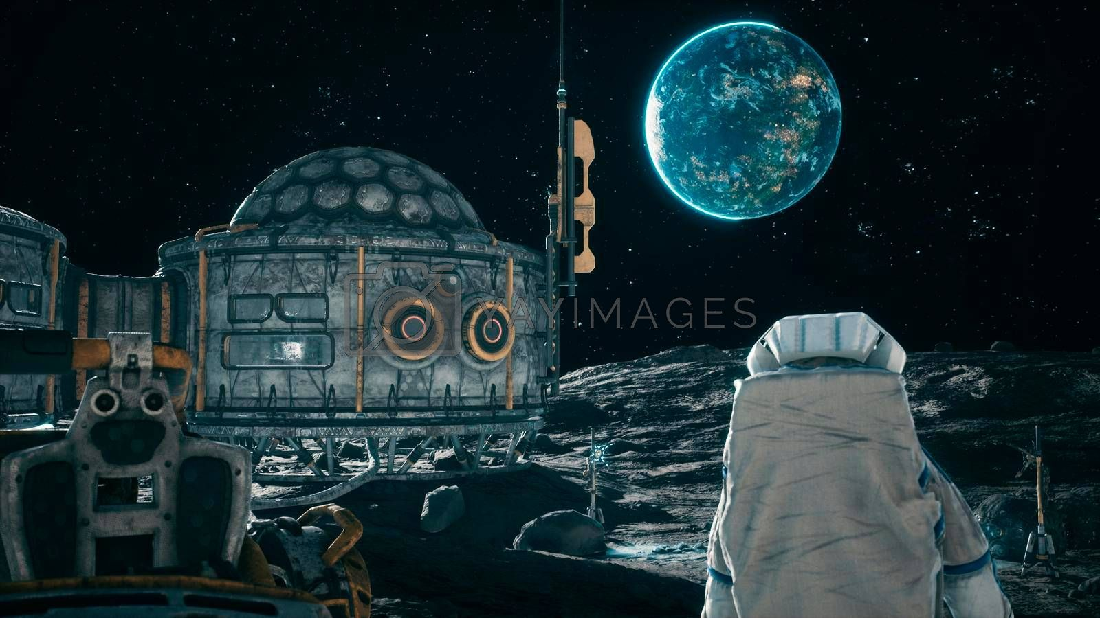 View of the lunar surface, lunar colony and astronauts working at the space base next to the lunar rover. View of the future lunar base.