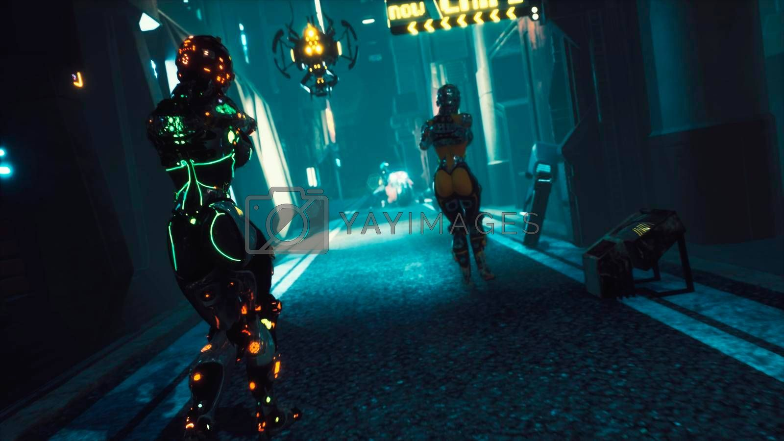 Cyber soldier walks through the dark streets of the cyber city of the future. View of an future fiction city. Post-apocalyptic cyber world concept.