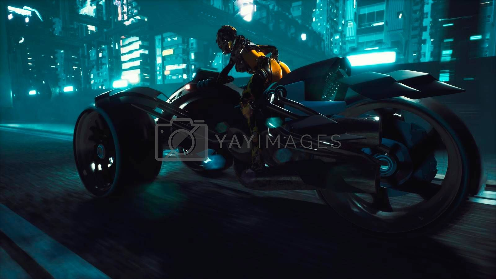 Cyborg rides a huge speed on the motorcycle of the future through the neon streets of the night cyber city. A view of the neon sci-Fi city. Post-apocalyptic cyber world concept.