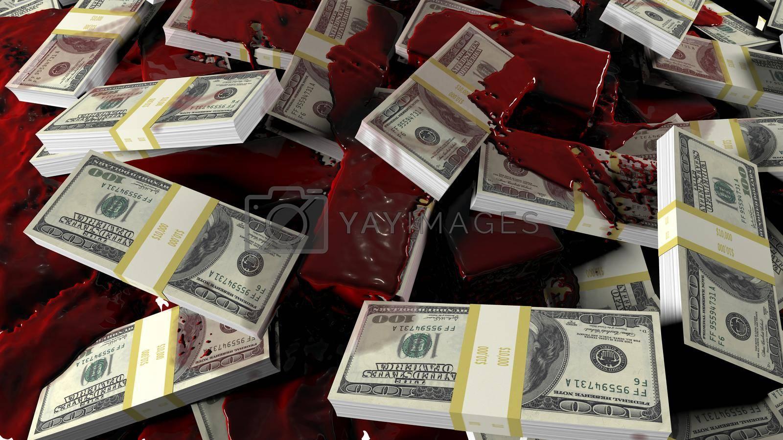 Blood flows to scattered bundles of hundred-dollar banknotes. Concept for business, criminal, financial, political or medical backgrounds.