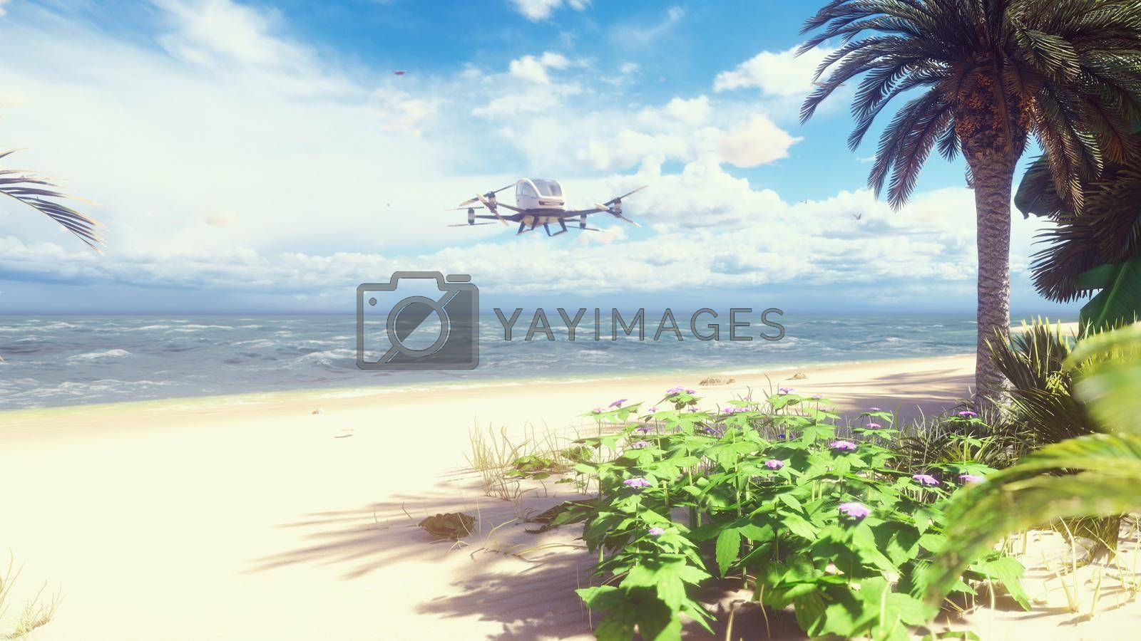 An unmanned passenger air taxi lands on a tropical beach. The concept of the future driverless taxi.