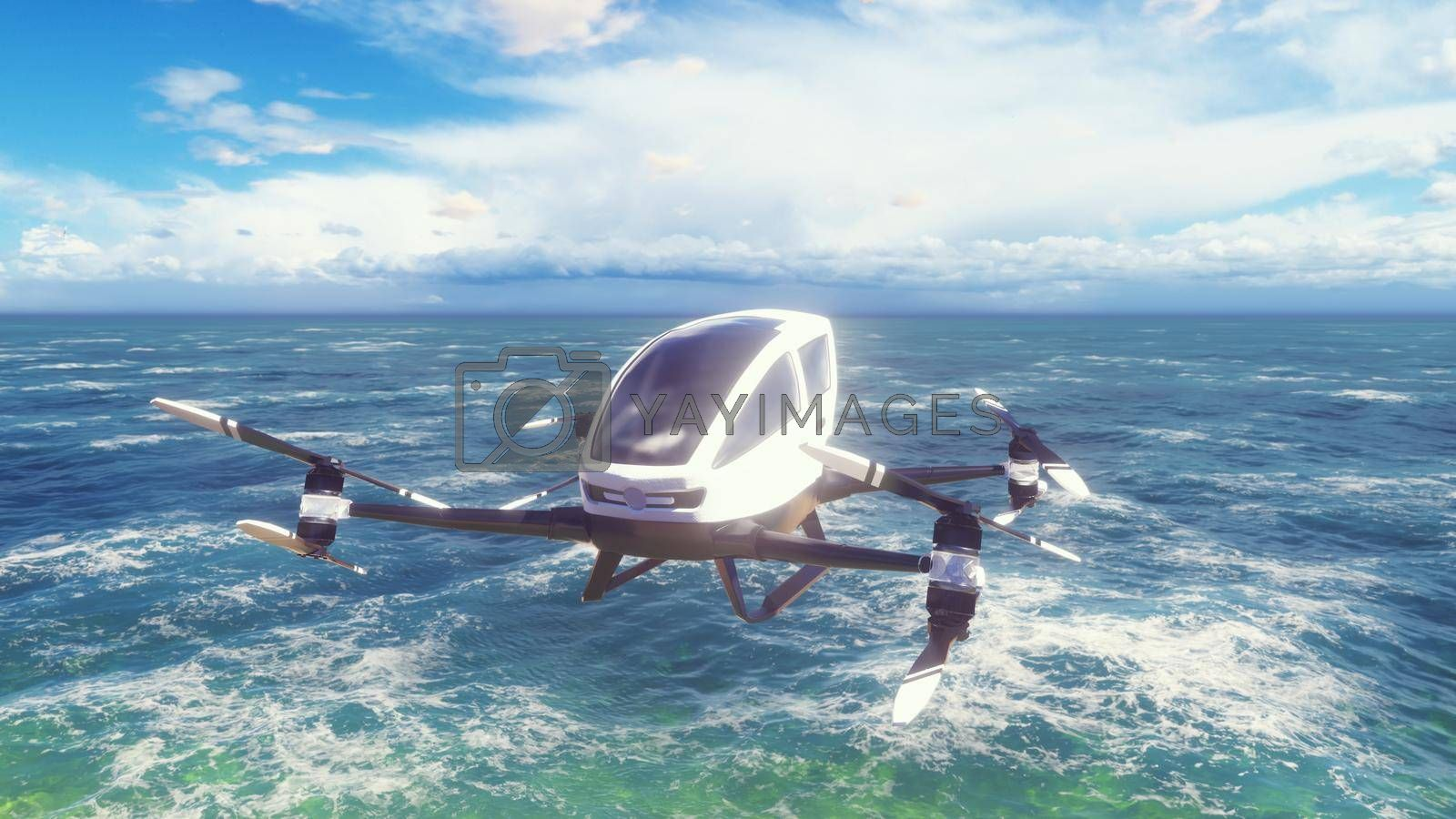 An unmanned passenger air taxi flies over the sea. The concept of the future driverless taxi.