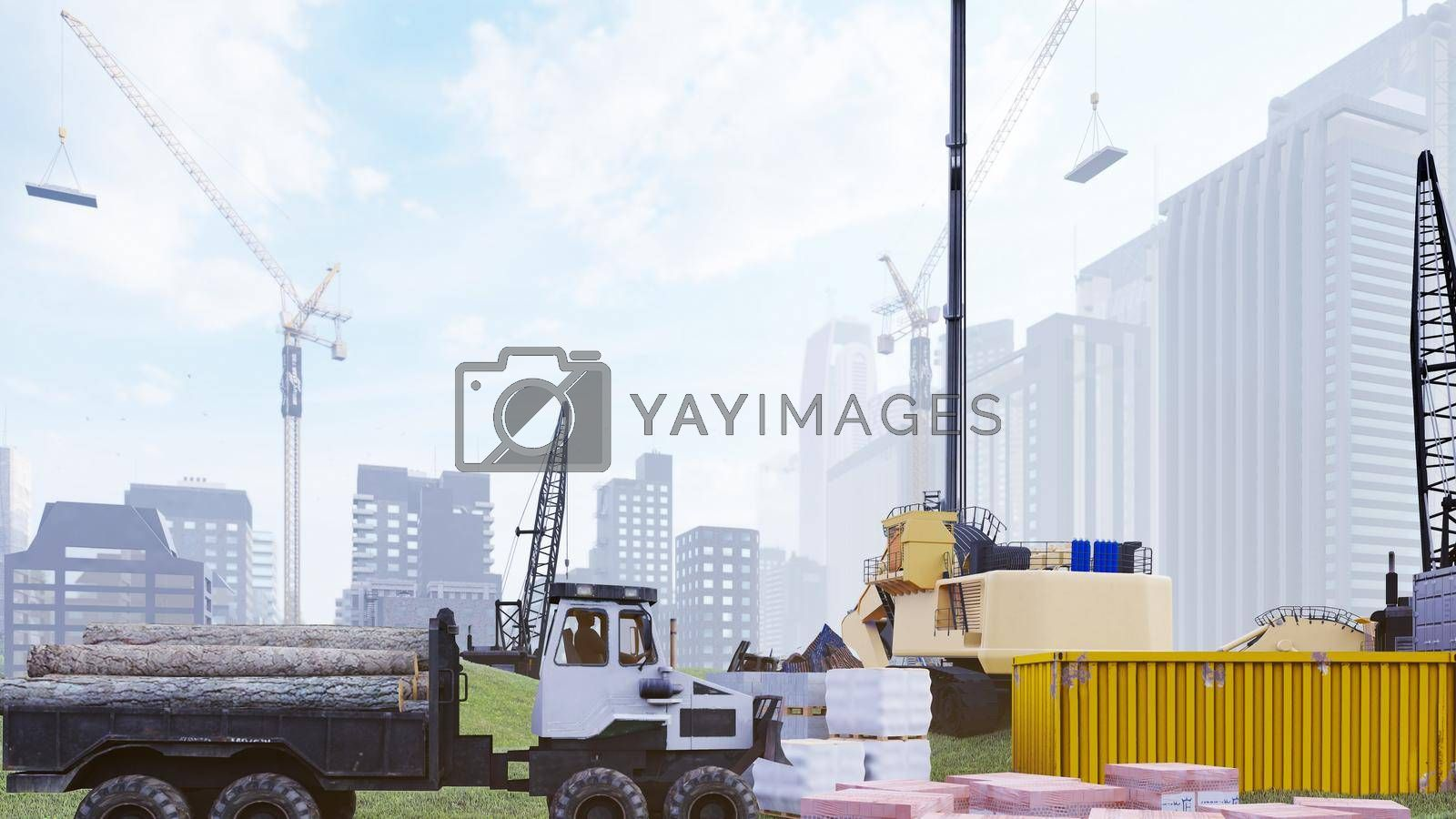 Industrial landscape with cranes and houses under construction, construction site on a foggy summer day. The concept of the construction.