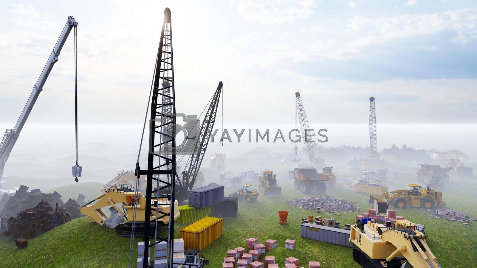 Construction site with tractors and cranes, industrial landscape in a summer day. The concept of construction.