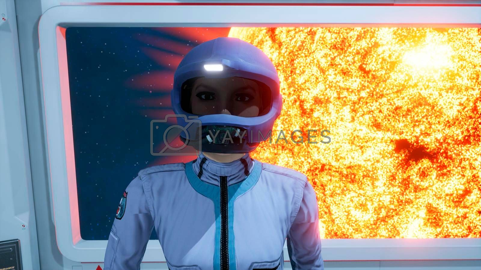 Royalty free image of A female astronaut leaves the room of the spacecraft to perform a combat mission. 3D Rendering by designprojects