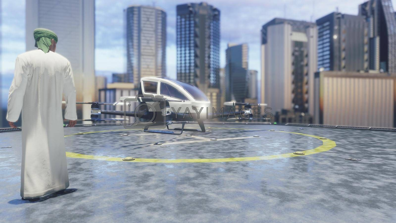 Pilotless passenger taxi makes a departure for the call of the client. The concept of the future unmanned air taxi.