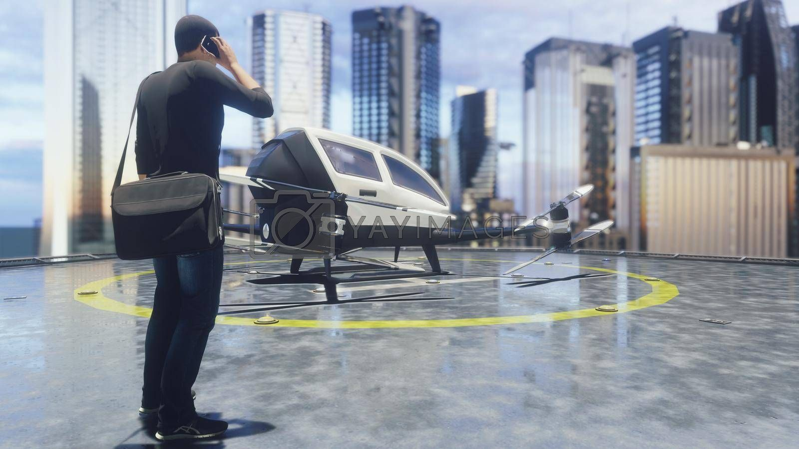 A unmanned passenger drone is preparing for takeoff.