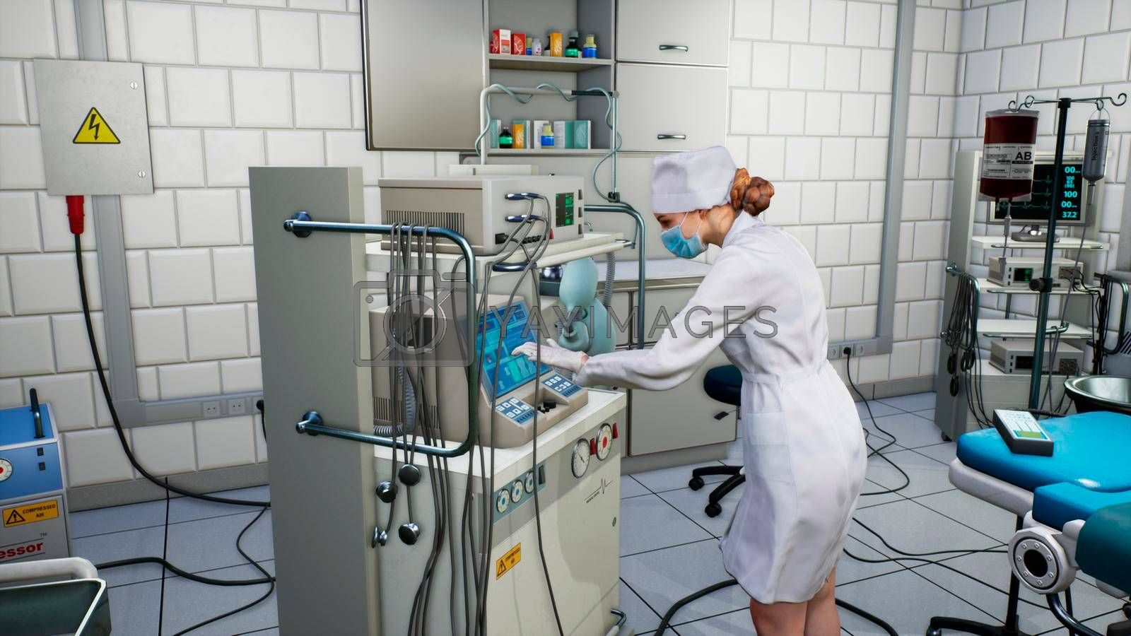 A female medical scientist works with a touchscreen computer in a medical lab.