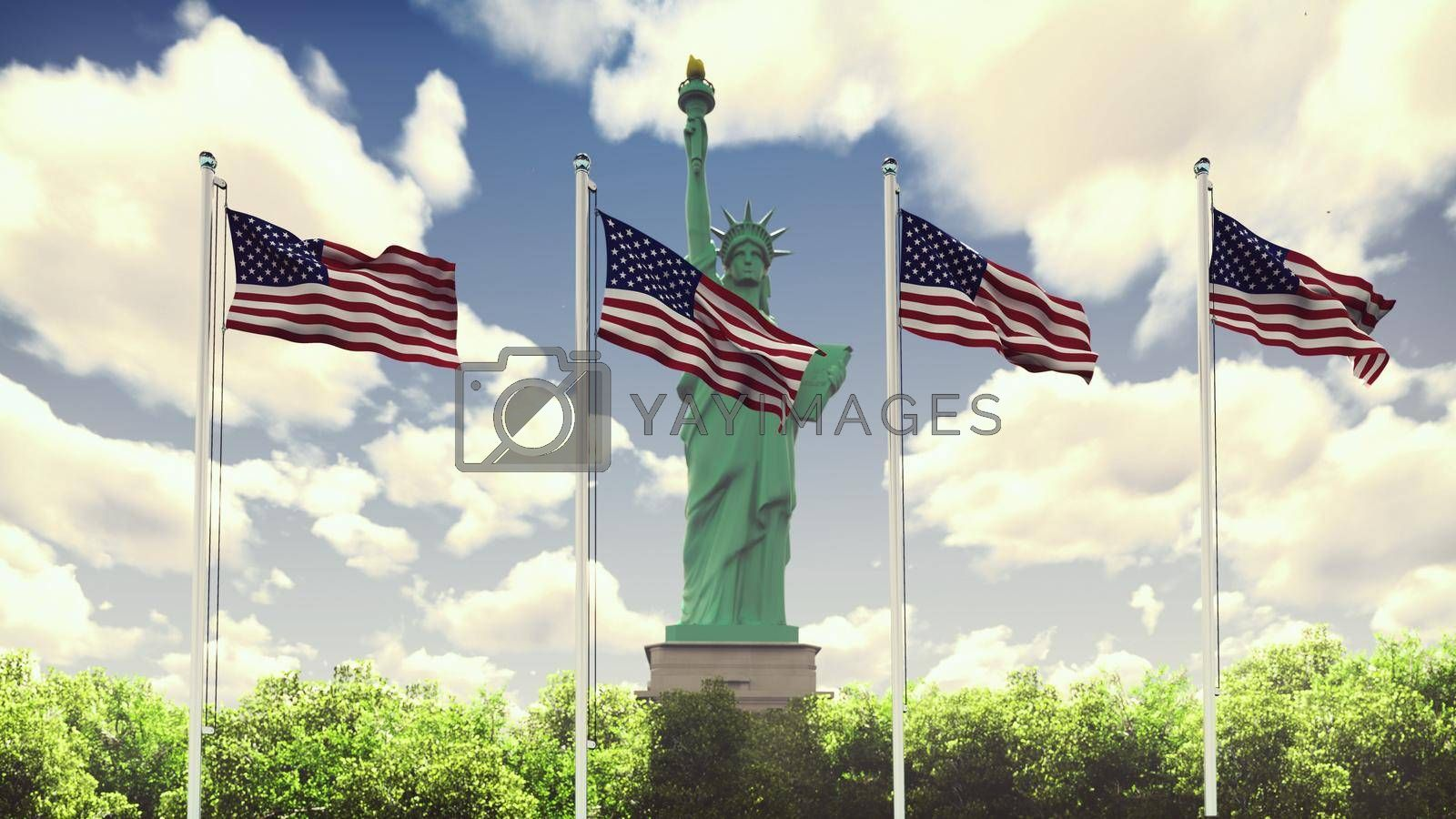 The American flags flutters in the wind on a Sunny day against the blue sky and the Statue of Liberty. The symbol of America and the American national holiday.