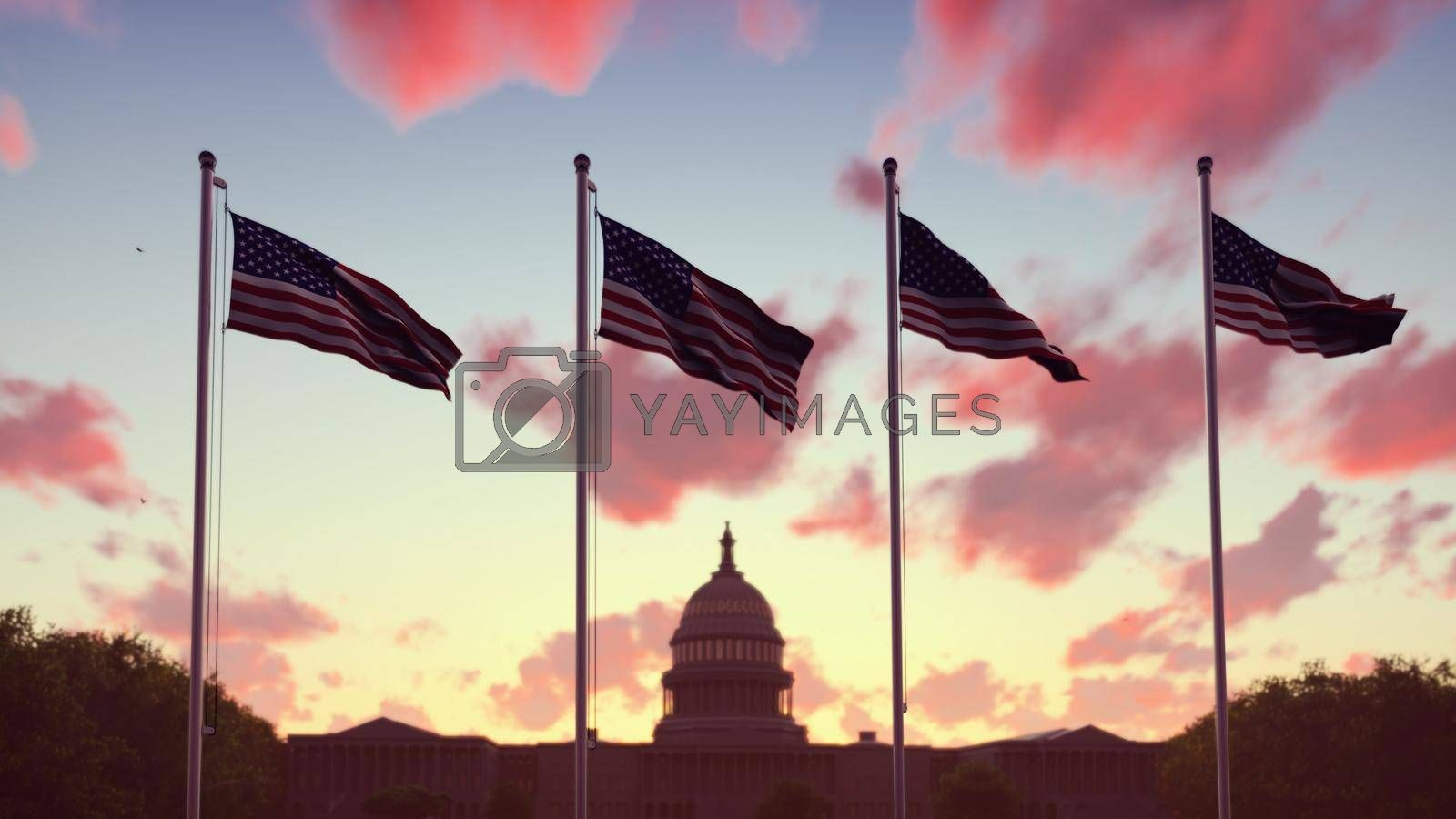 Royalty free image of The American flags flutters in the wind on a sunset against the blue sky and the Capitol. 3D Rendering by designprojects