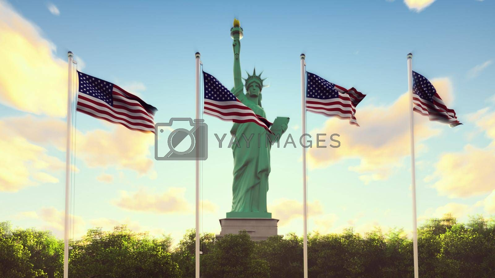 Royalty free image of The American flags flutters in the wind on a sunrise against the blue sky and the Statue of Liberty. 3D Rendering by designprojects