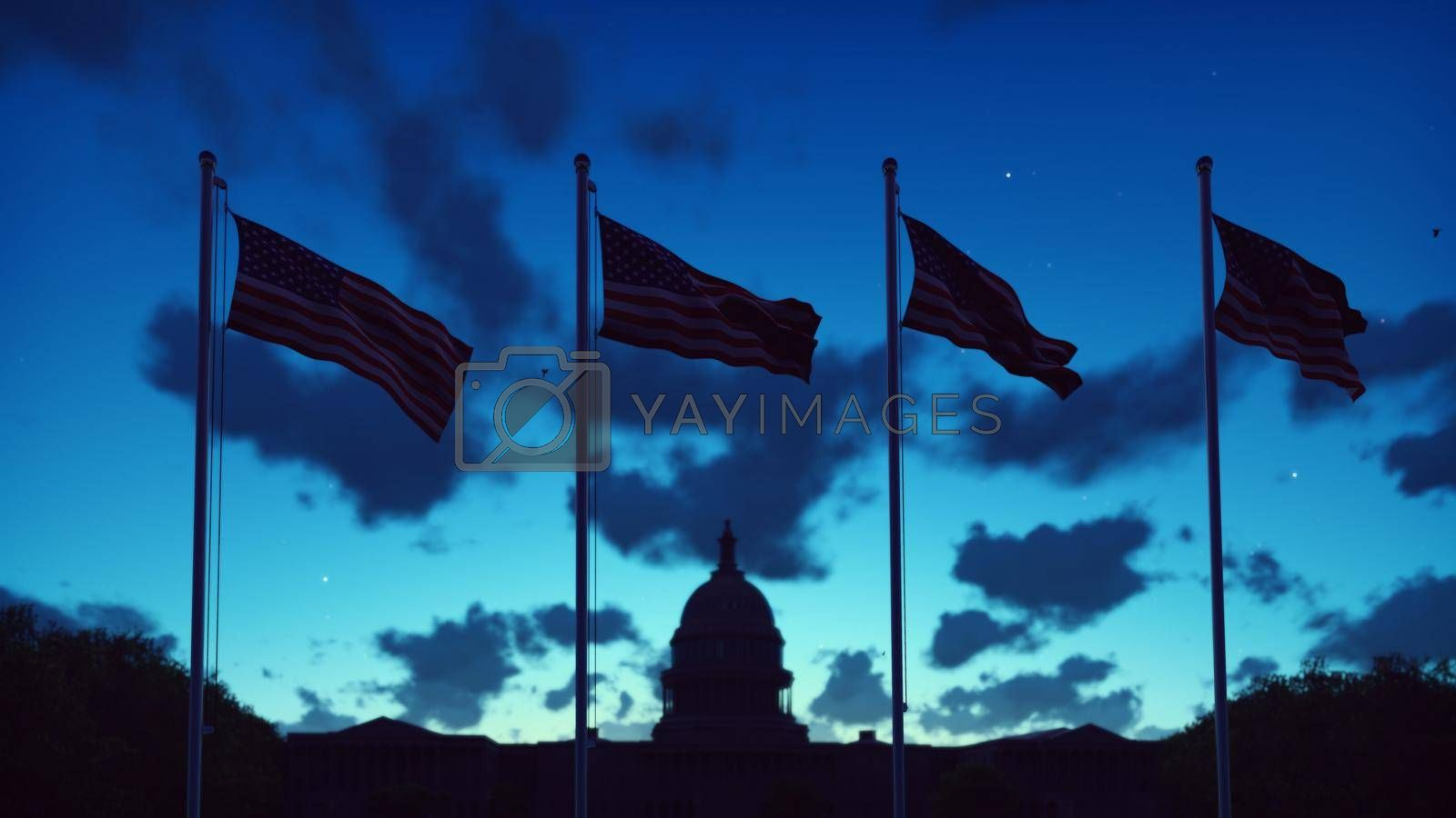 Royalty free image of The American flags flutters in the wind on a sunrise against the blue sky and the Capitol. 3D Rendering by designprojects