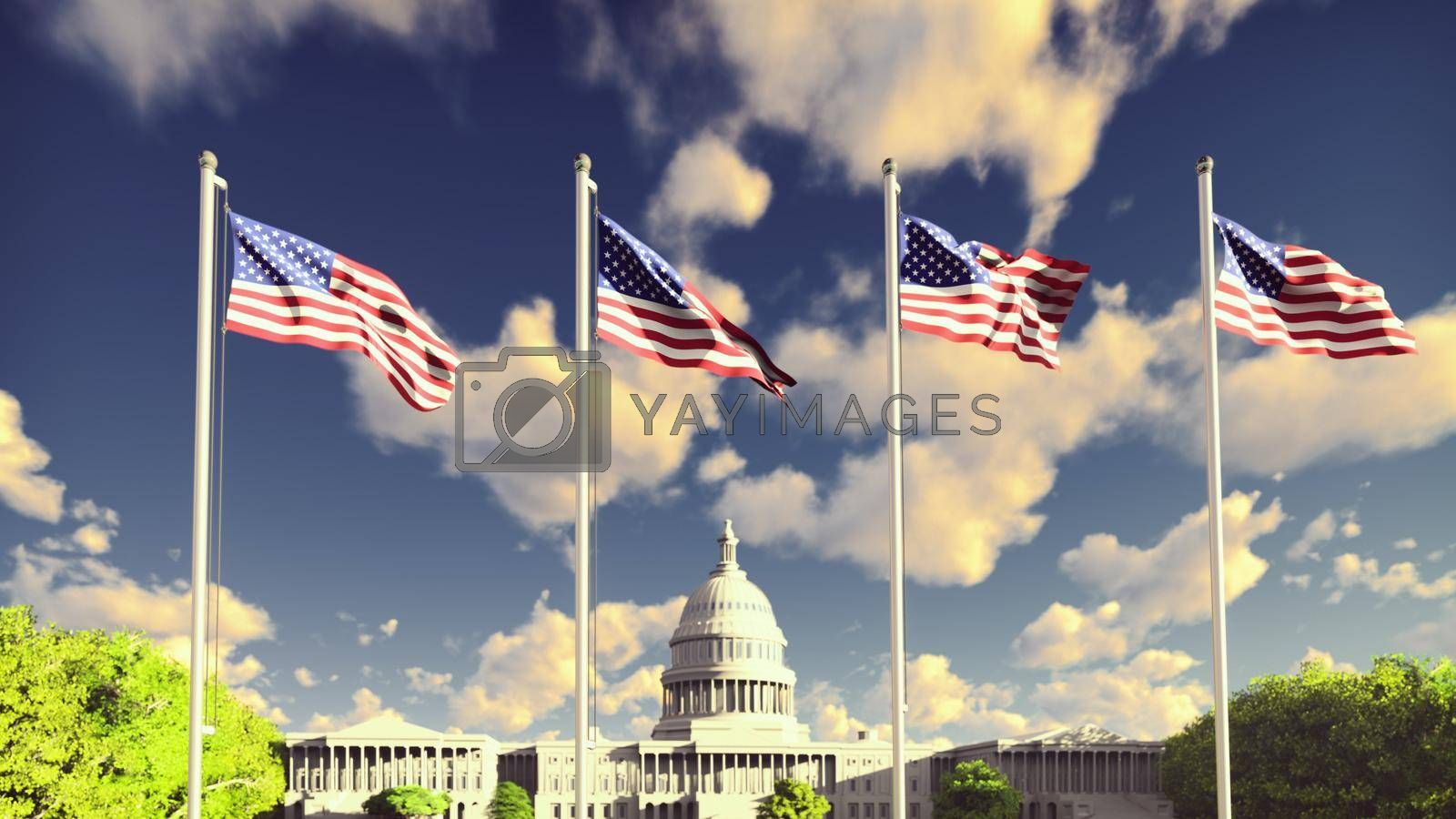 The American flags flutters in the wind on a sunrise against the blue sky and the Capitol. The symbol of America and the American national holiday.