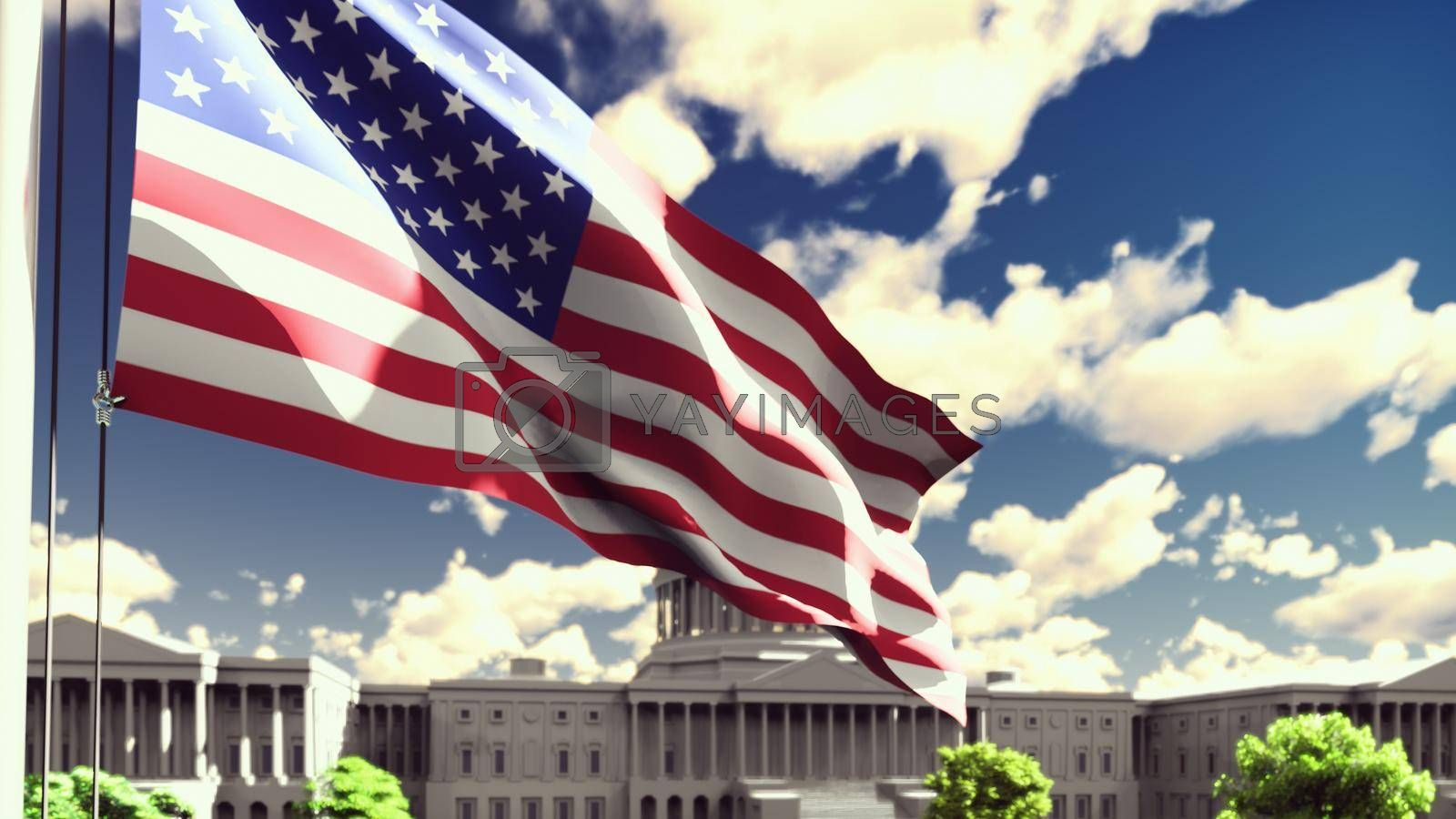 Royalty free image of The American flag flutters in the wind on a Sunny day against the blue sky and the Capitol. 3D Rendering by designprojects