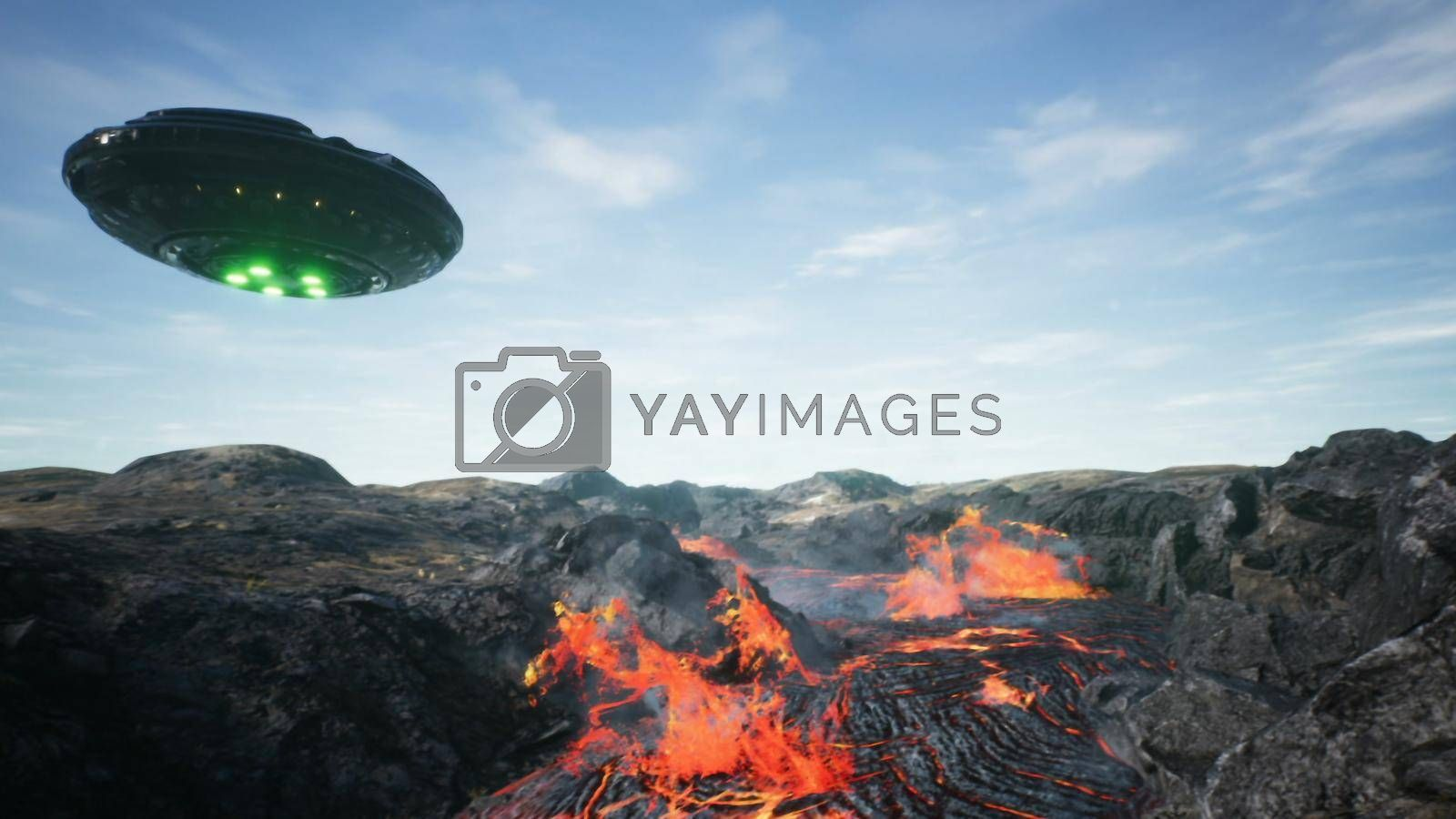 UFO is flying over the volcano