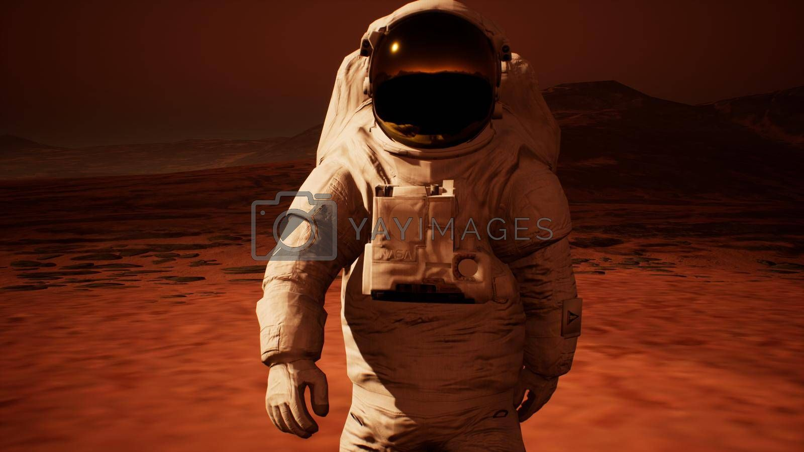 Astronaut in spacesuit confidently walk on Mars in search of life.