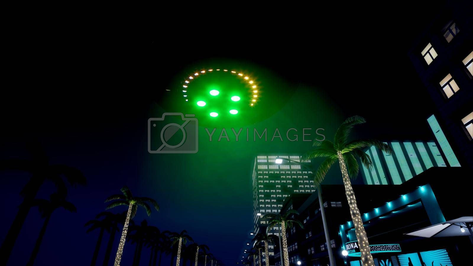 UFO is flying over the night city