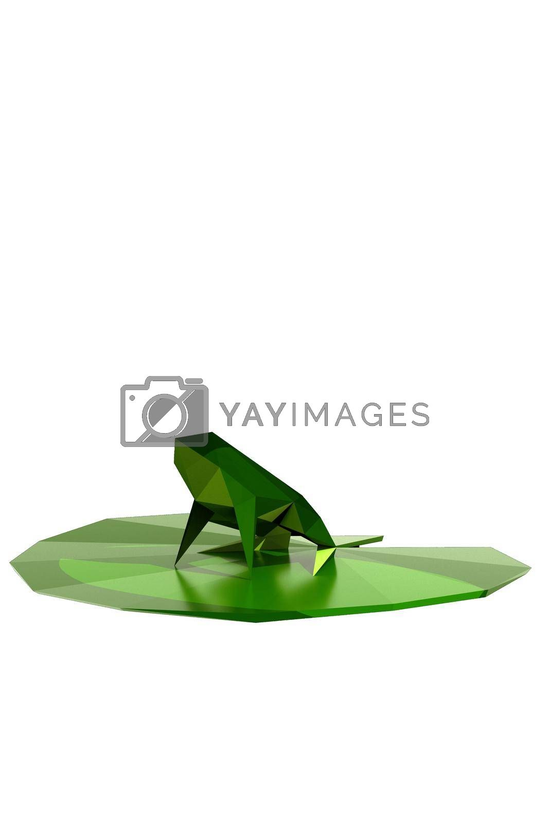 frog on a leaf isolated on white background 3d illustration