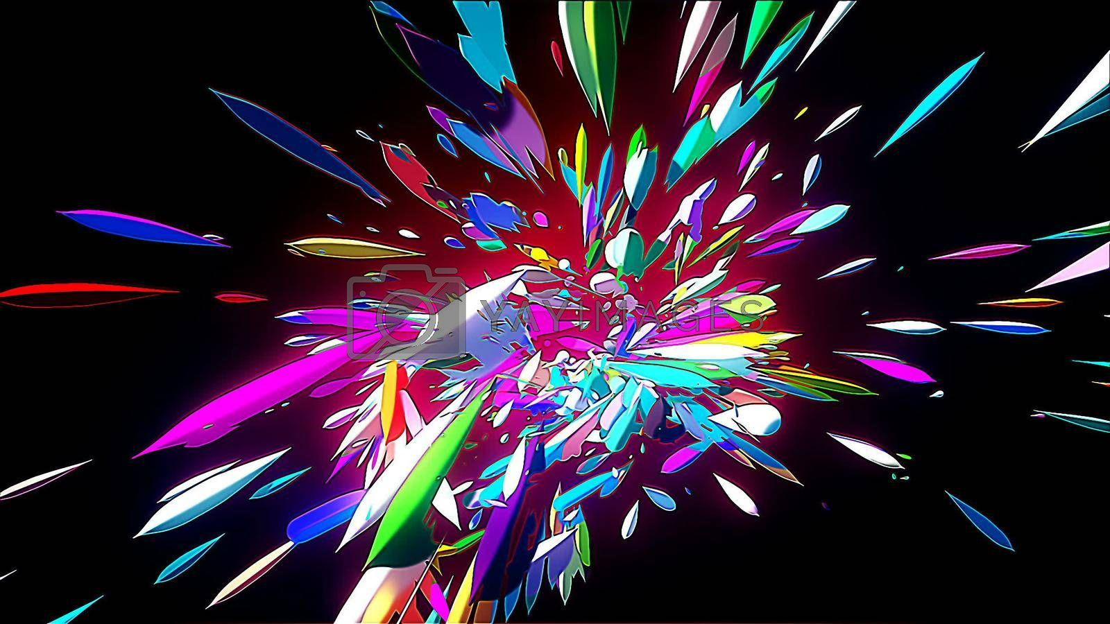 HD Abstract CGI motion graphics with multicolored lines