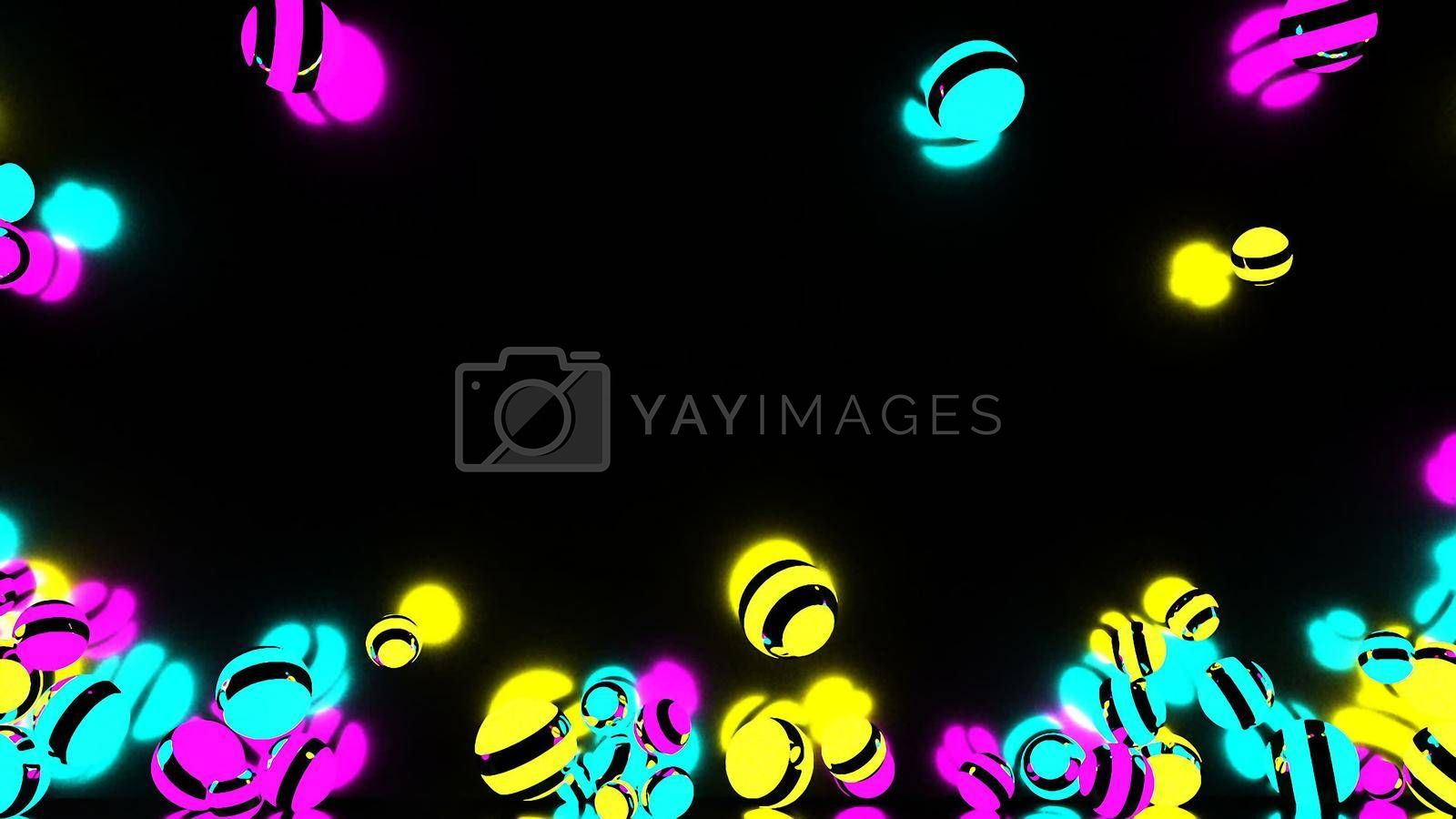 HD Abstract CGI motion graphics with glowing multicolored spheres